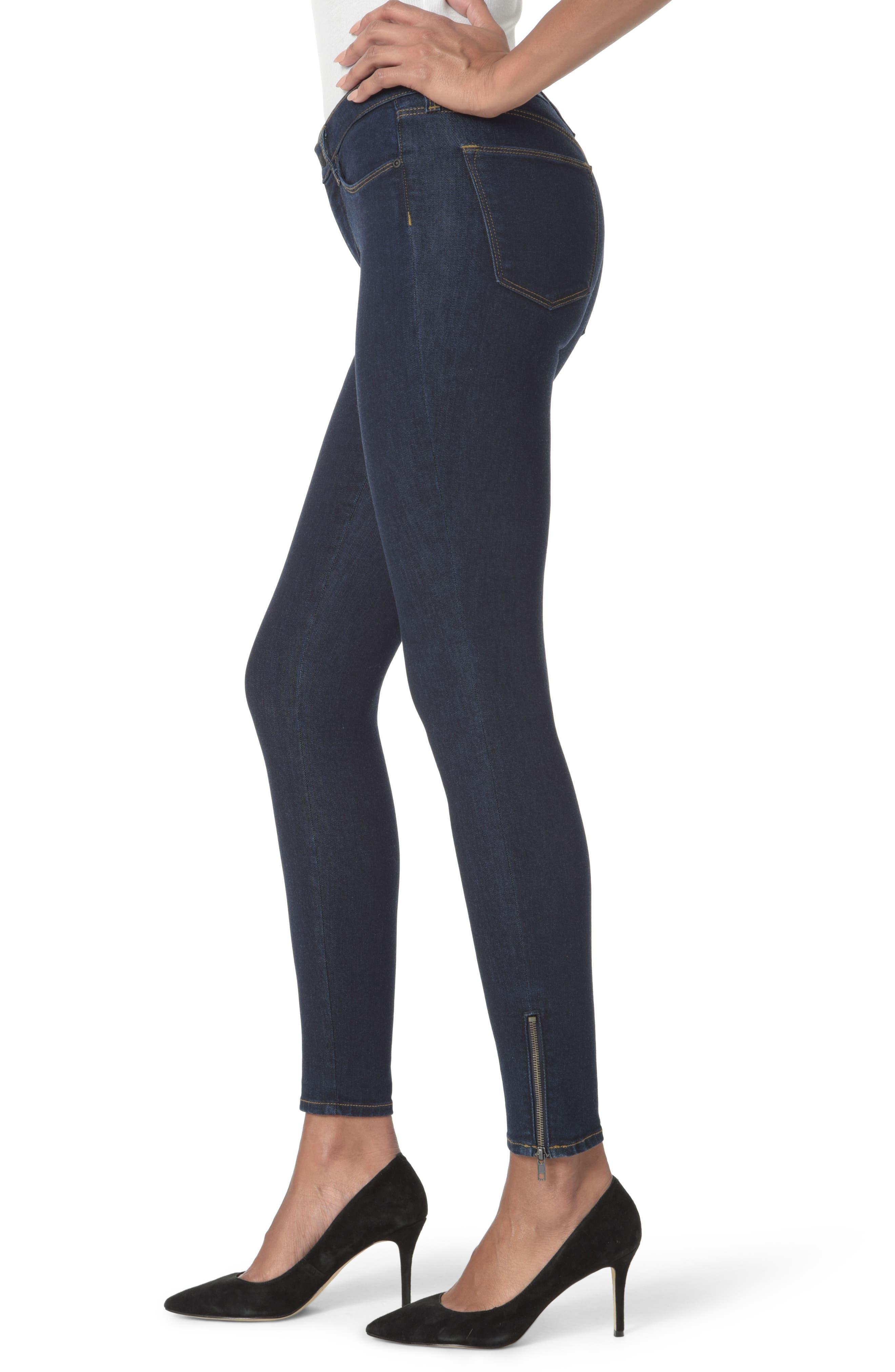 Dylan Ankle Zipper Hem Skinny Jeans,                             Alternate thumbnail 3, color,                             Rinse
