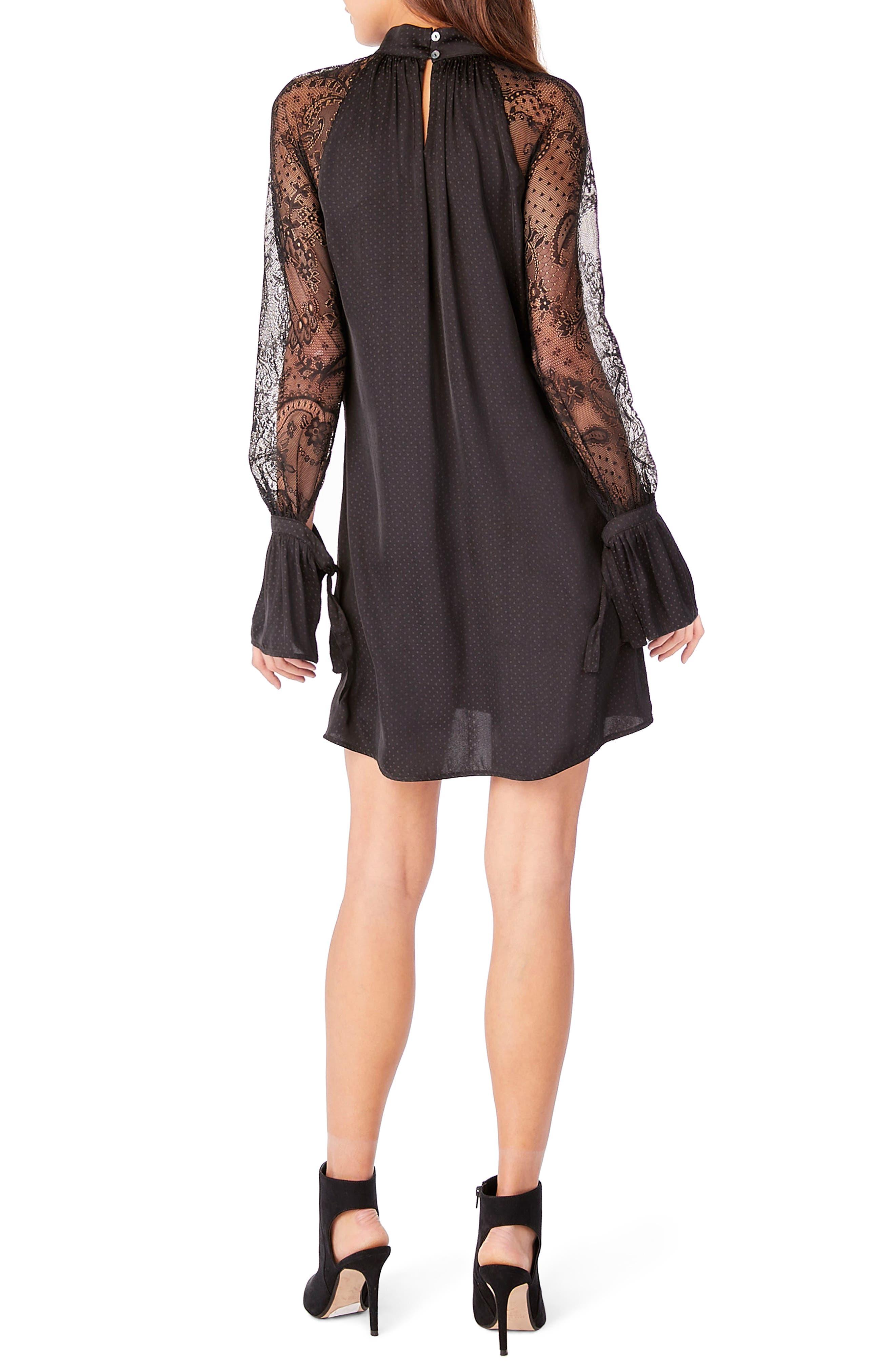 Lace Bell Sleeve Shift Dress,                             Alternate thumbnail 2, color,                             Black