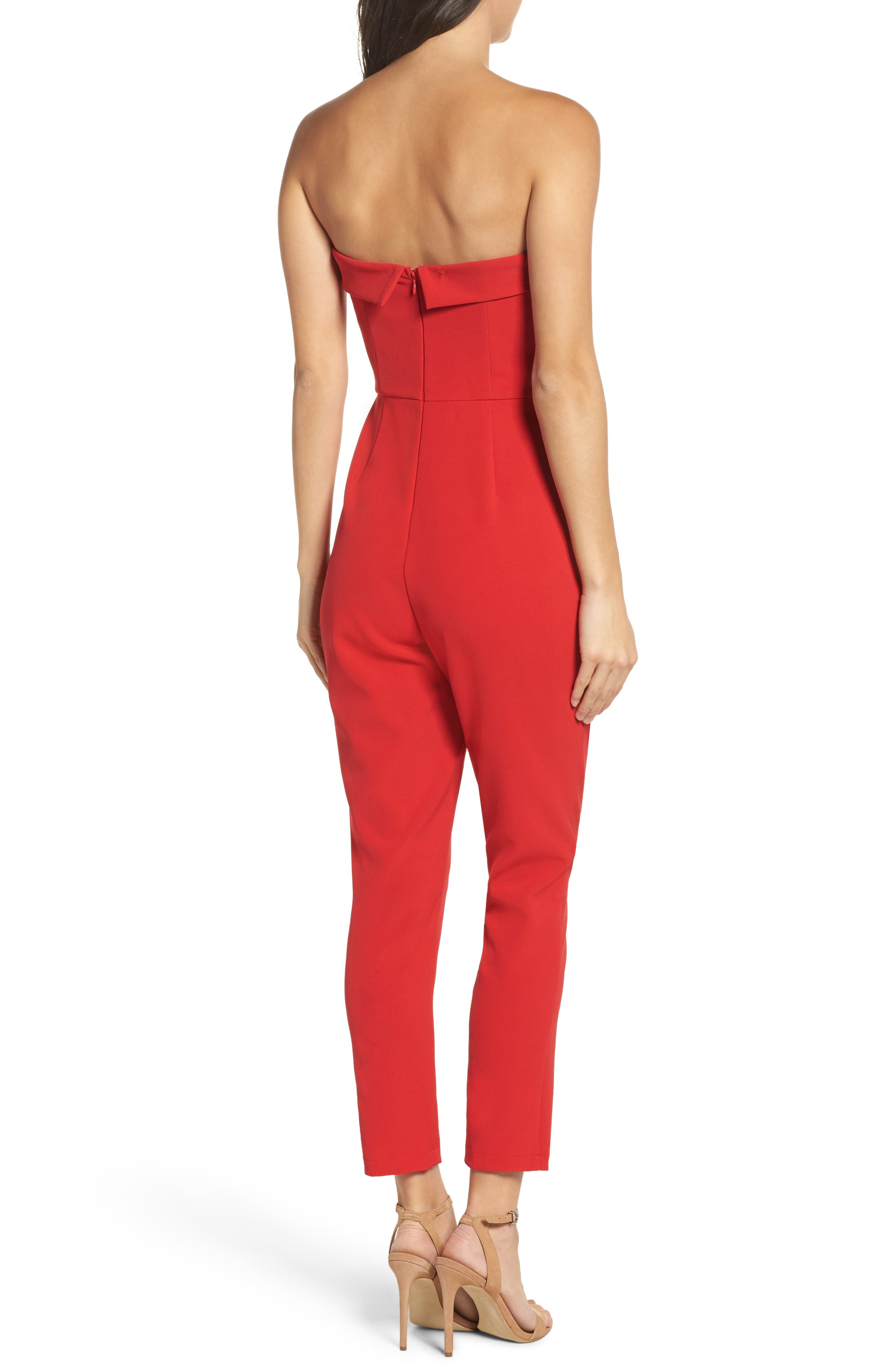 Malia Strapless Jumpsuit,                             Alternate thumbnail 2, color,                             Red