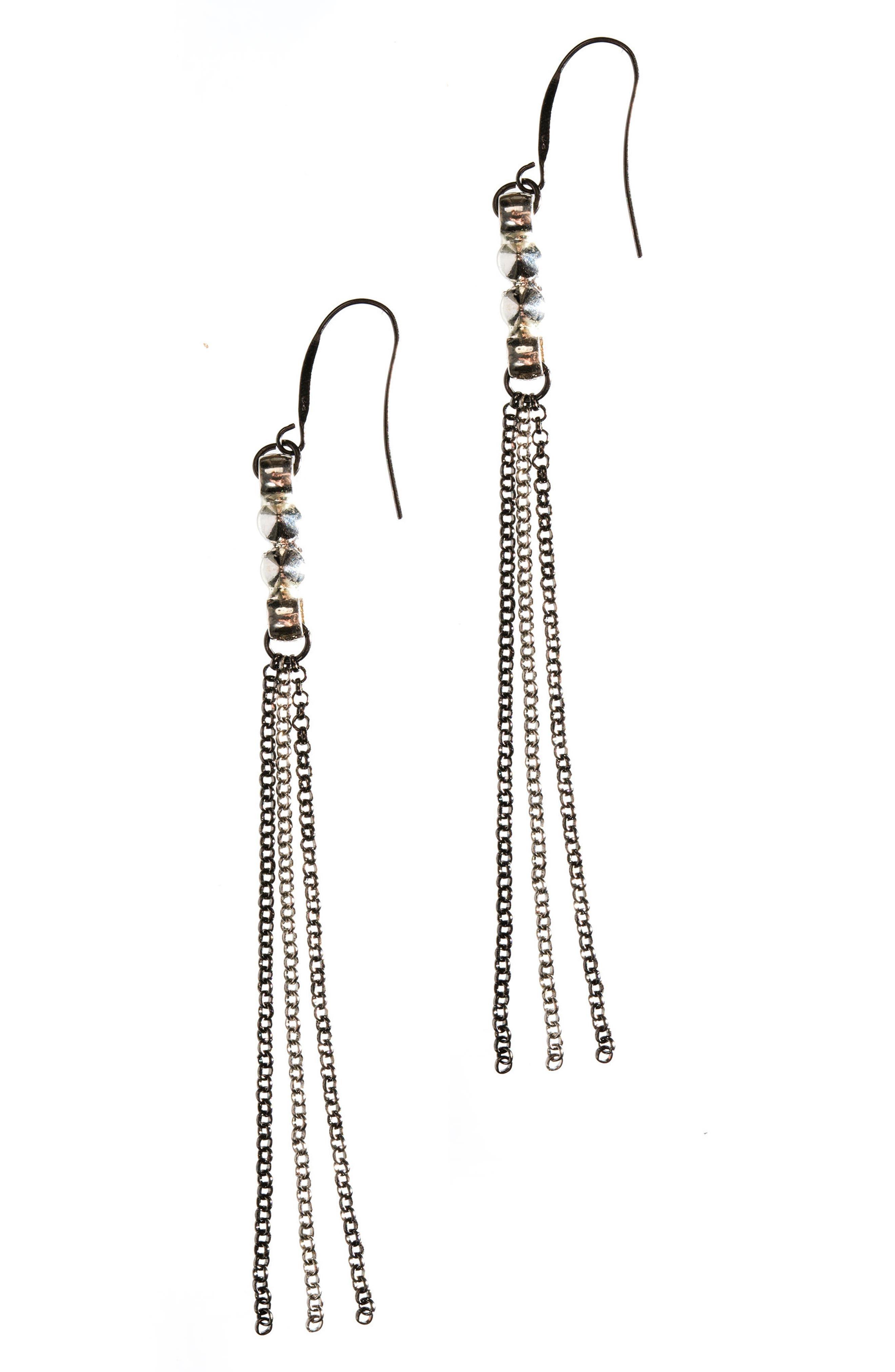 Chain Earrings,                         Main,                         color, Silver/ Gunmetal