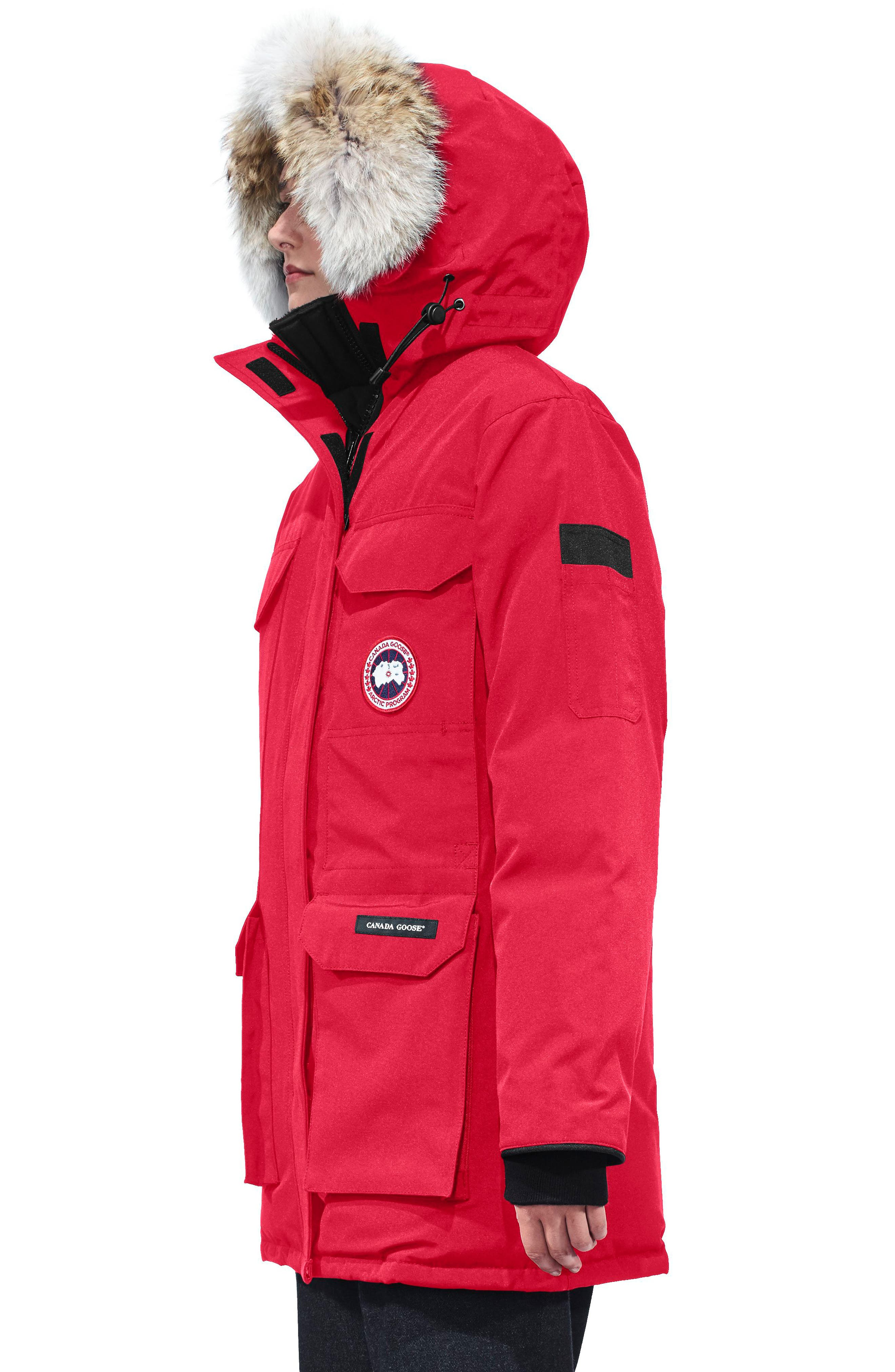 'Expedition' Relaxed Fit Down Parka with Genuine Coyote Fur,                             Alternate thumbnail 3, color,                             Red