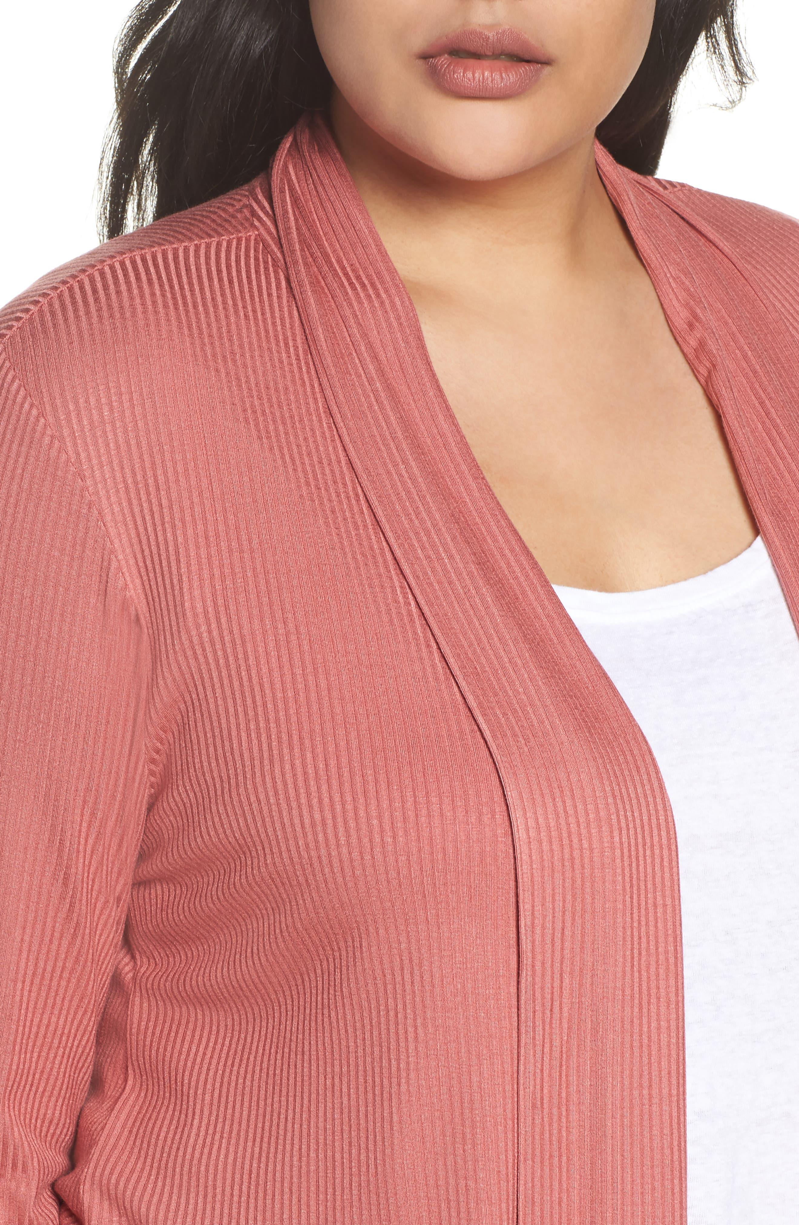 Alternate Image 4  - Bobeau Drape Front Ribbed Cardigan (Plus Size)