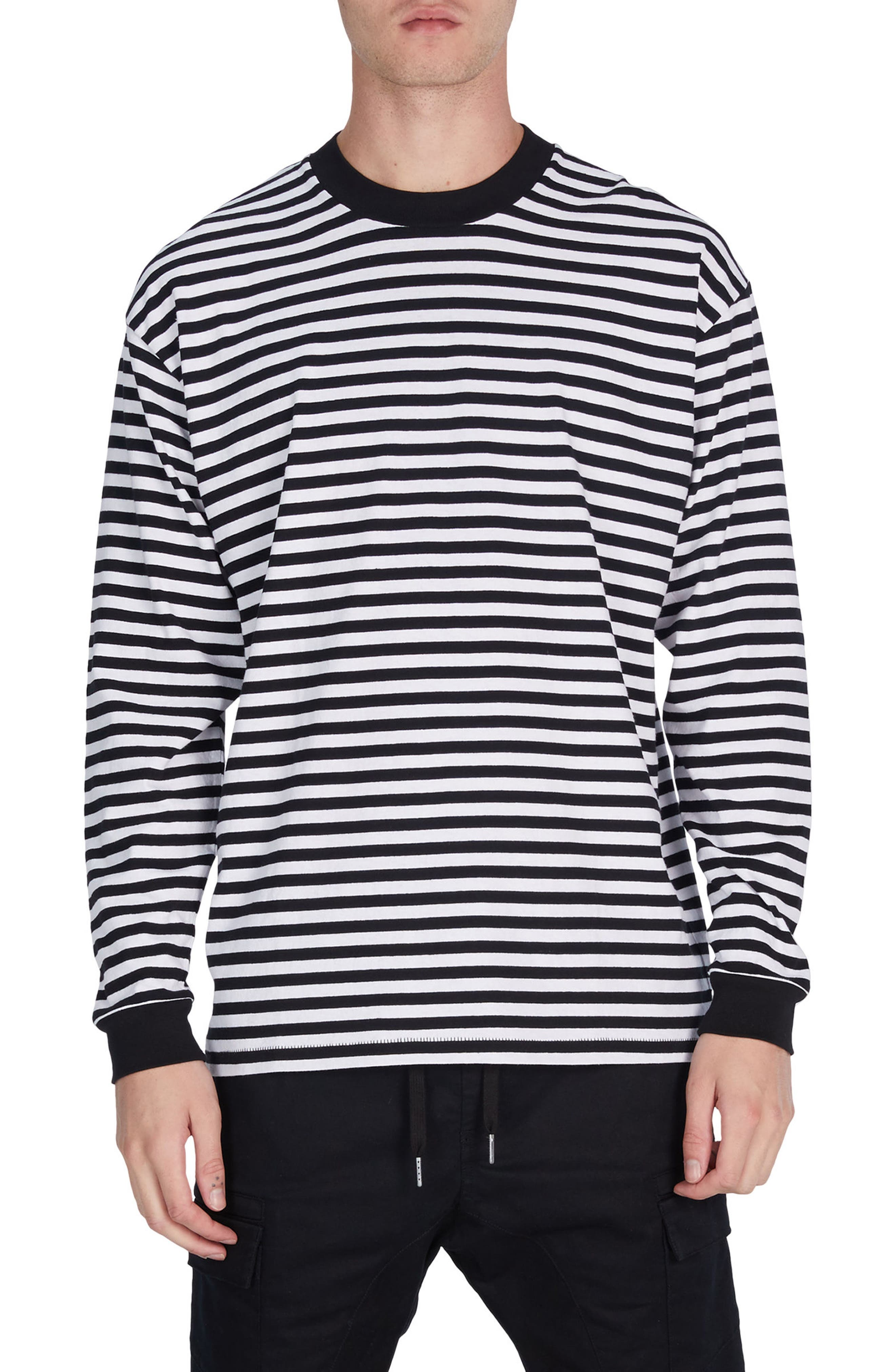Stripe Box T-Shirt,                             Main thumbnail 1, color,                             Black/ White