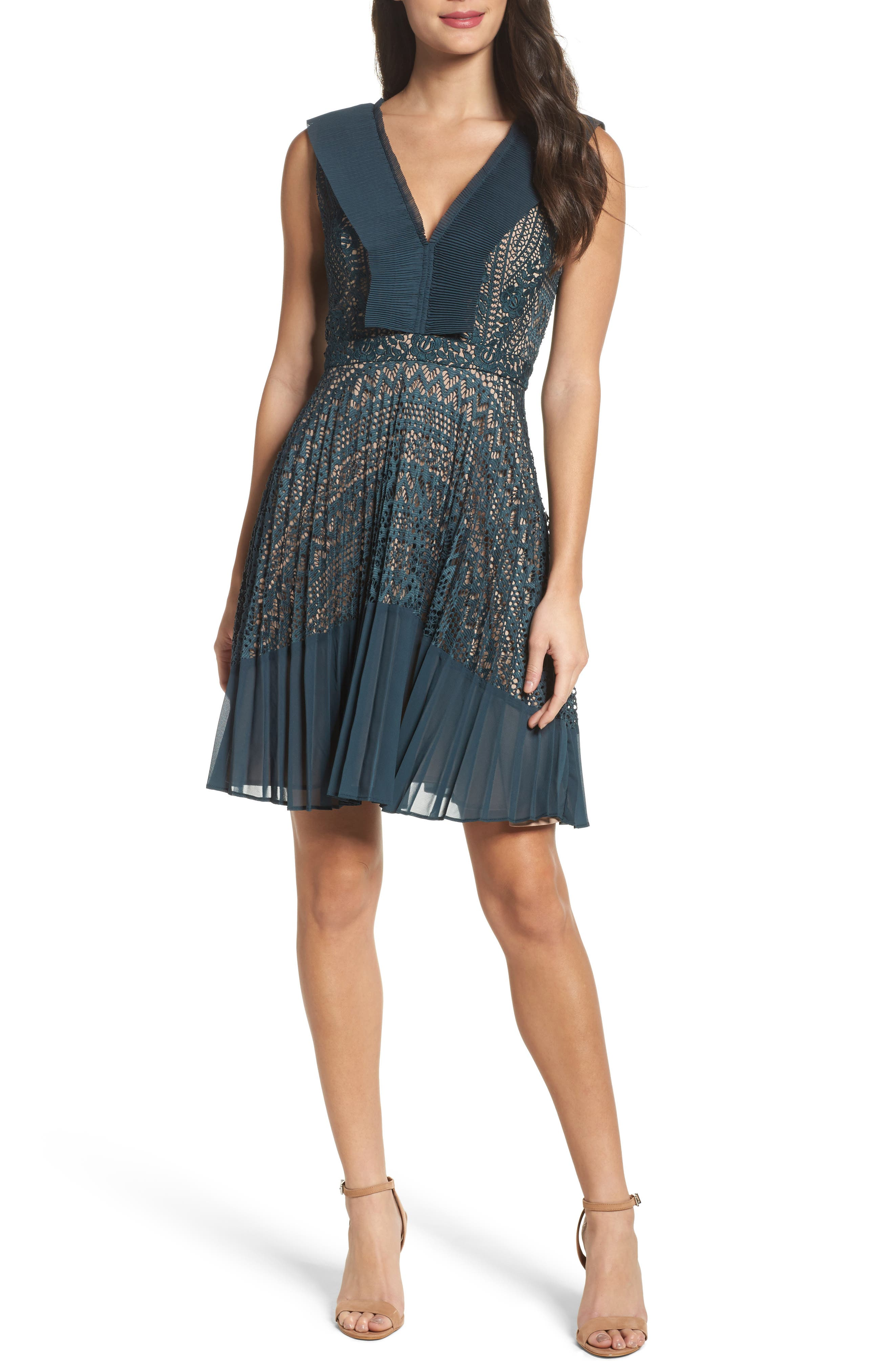 Orabelle Lace Fit & Flare Dress,                         Main,                         color, Deepest Teal