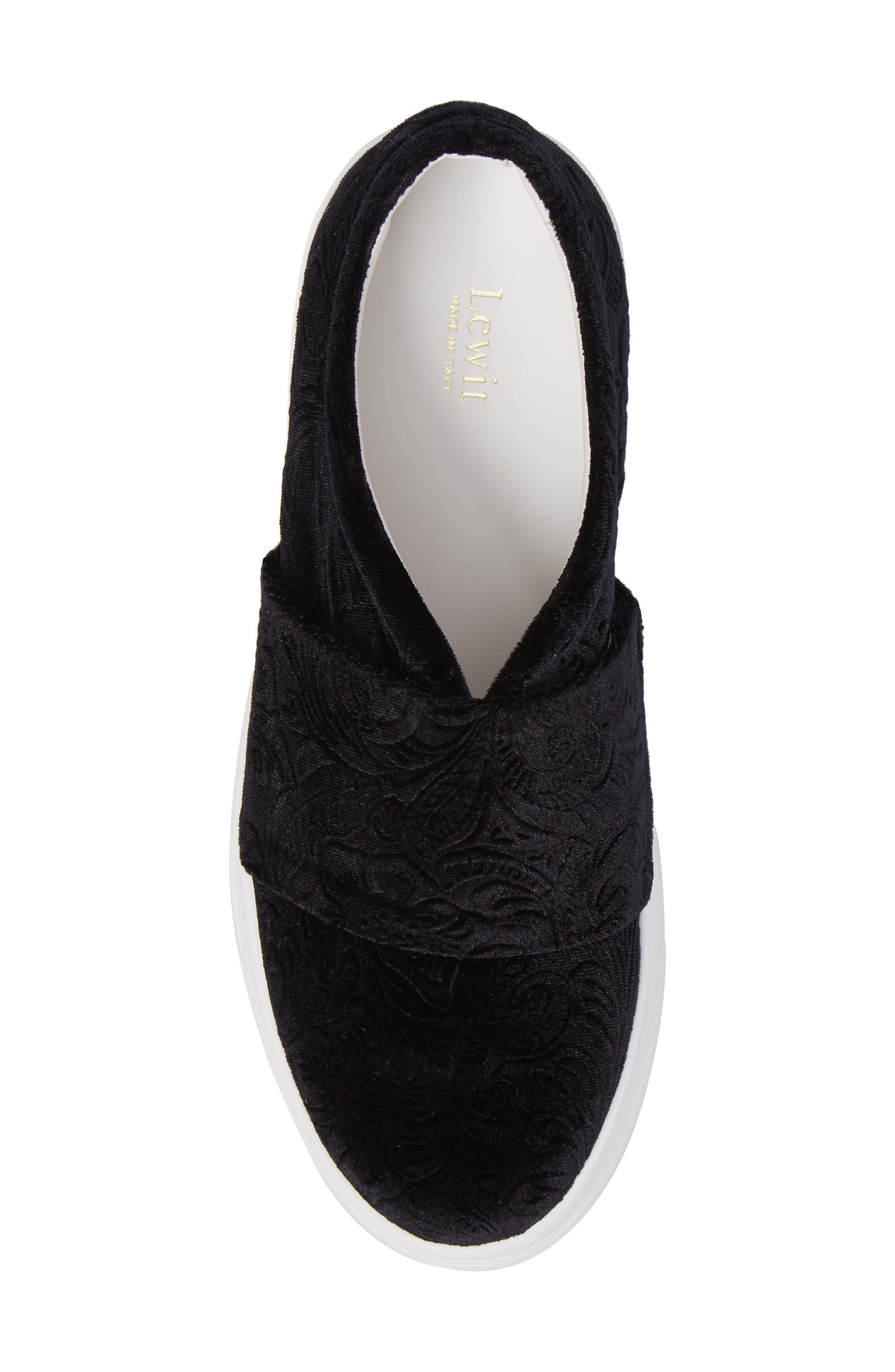 Arlo Slip-On Platform Sneaker,                             Alternate thumbnail 5, color,                             Black Embossed Velvet