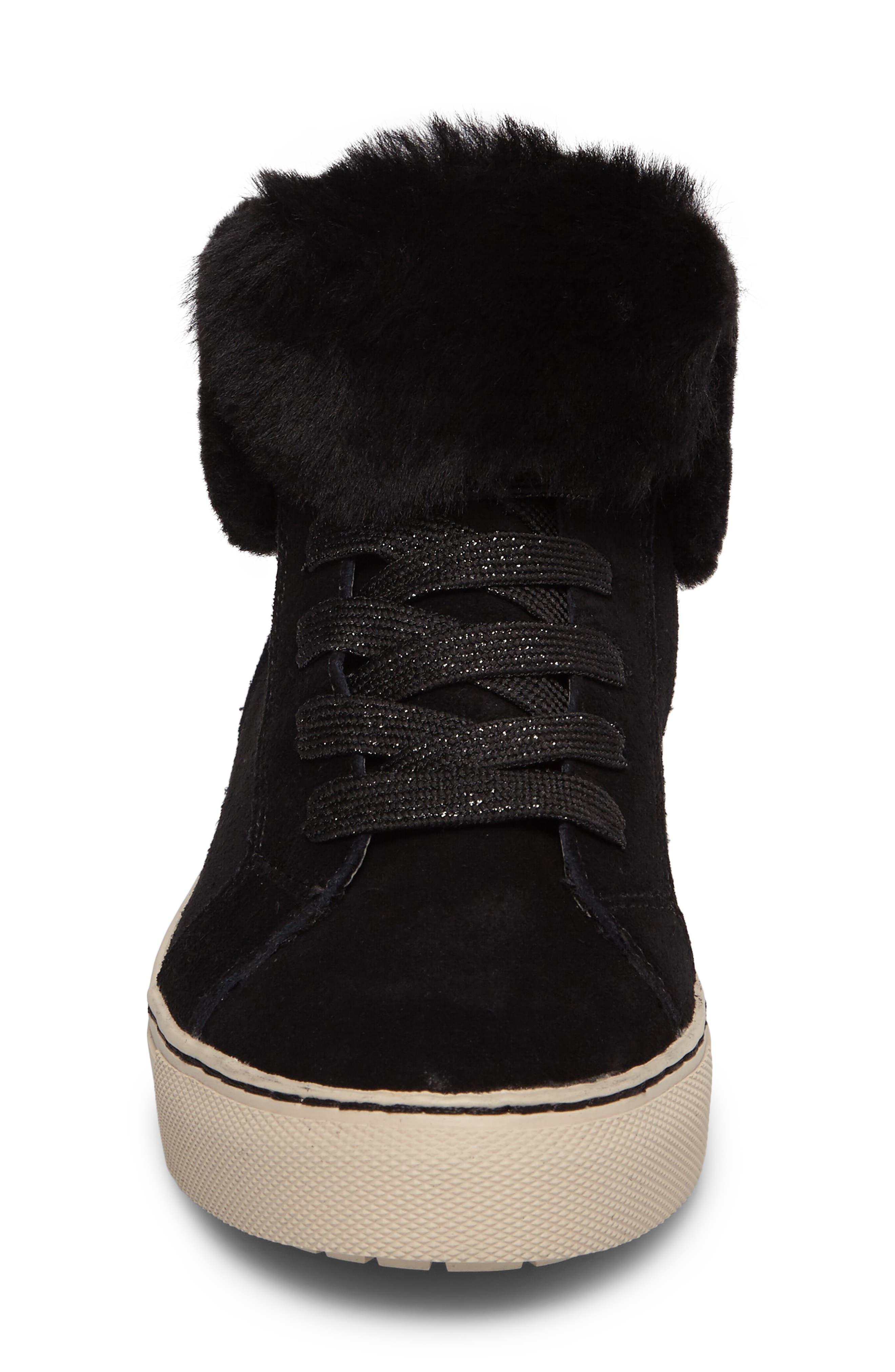 Downey Waterproof Genuine Shearling Sneaker,                             Alternate thumbnail 4, color,                             Black Suede