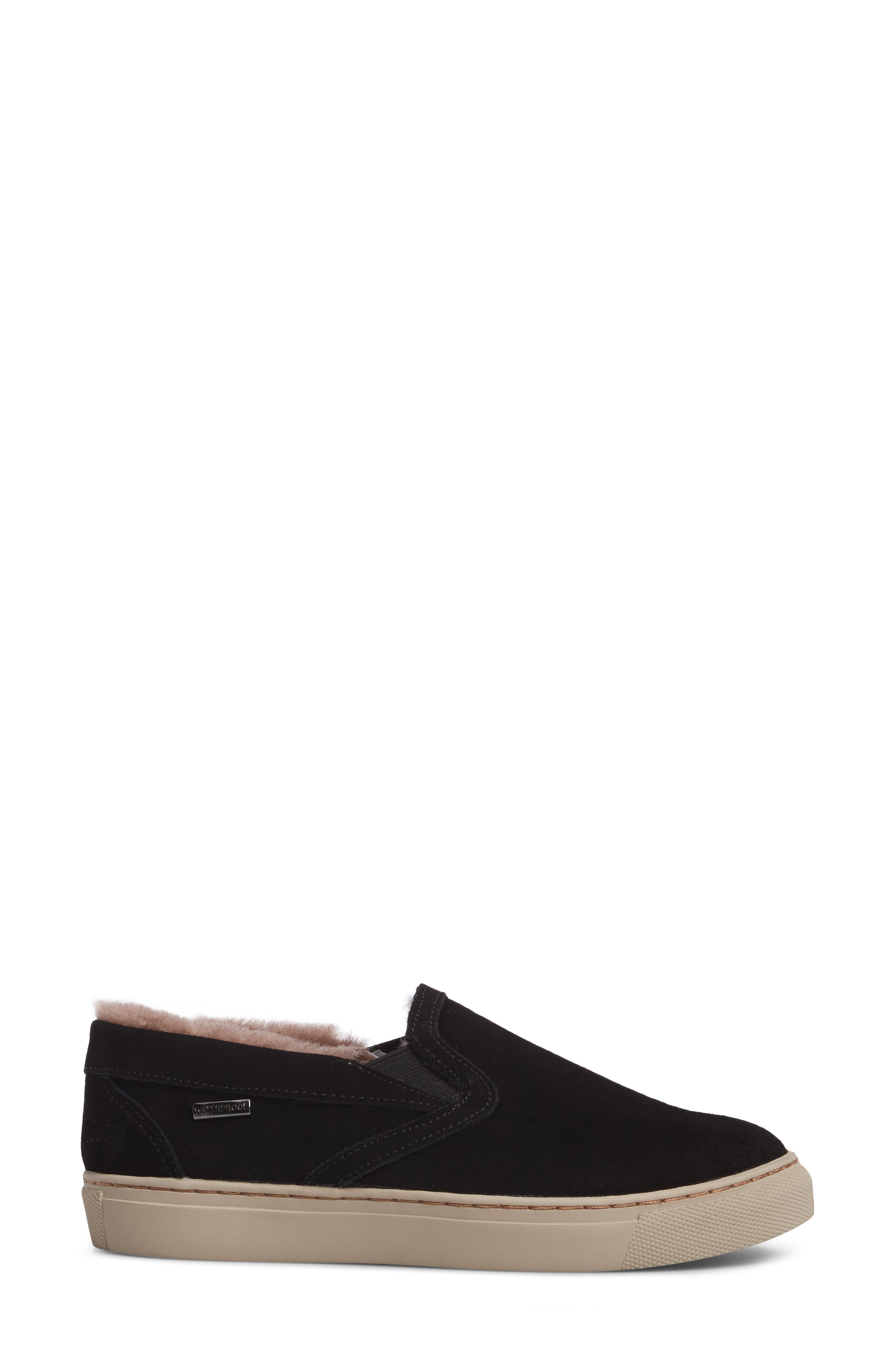 Fawn Waterproof Genuine Shearling Slip-On,                             Alternate thumbnail 3, color,                             Black Suede