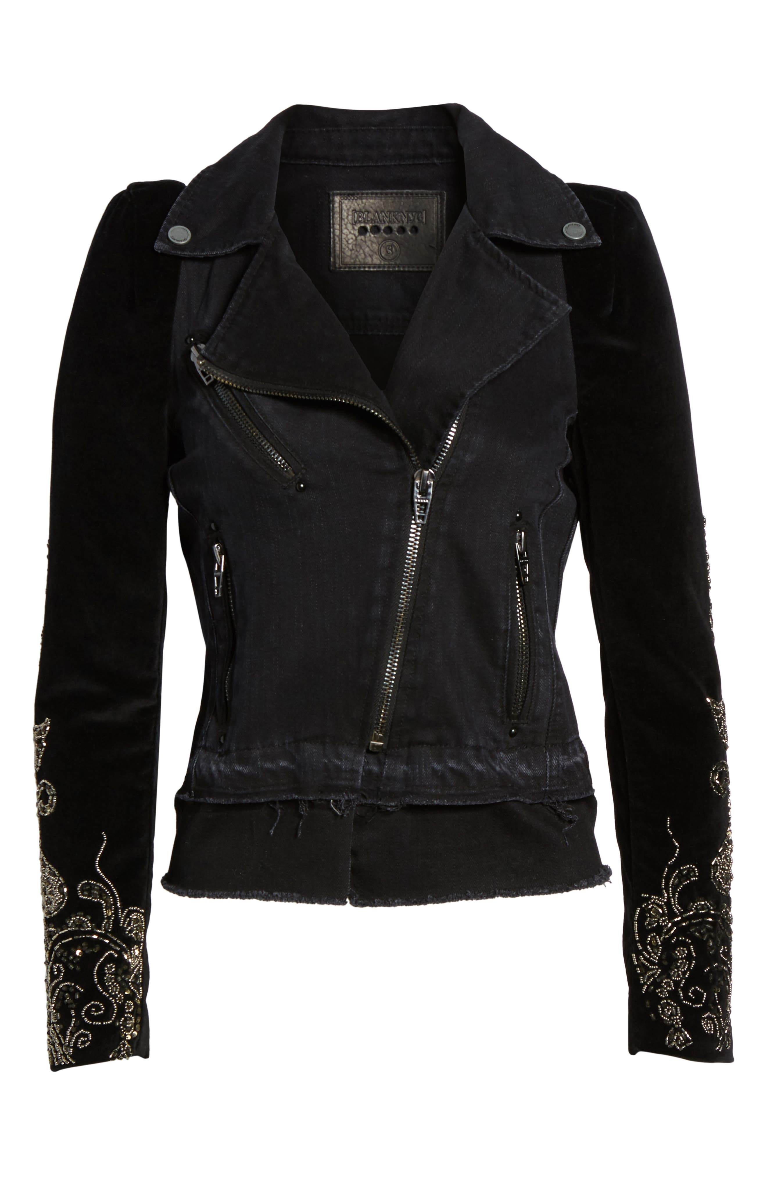 Denim Mix Moto Jacket,                             Alternate thumbnail 6, color,                             Night Light