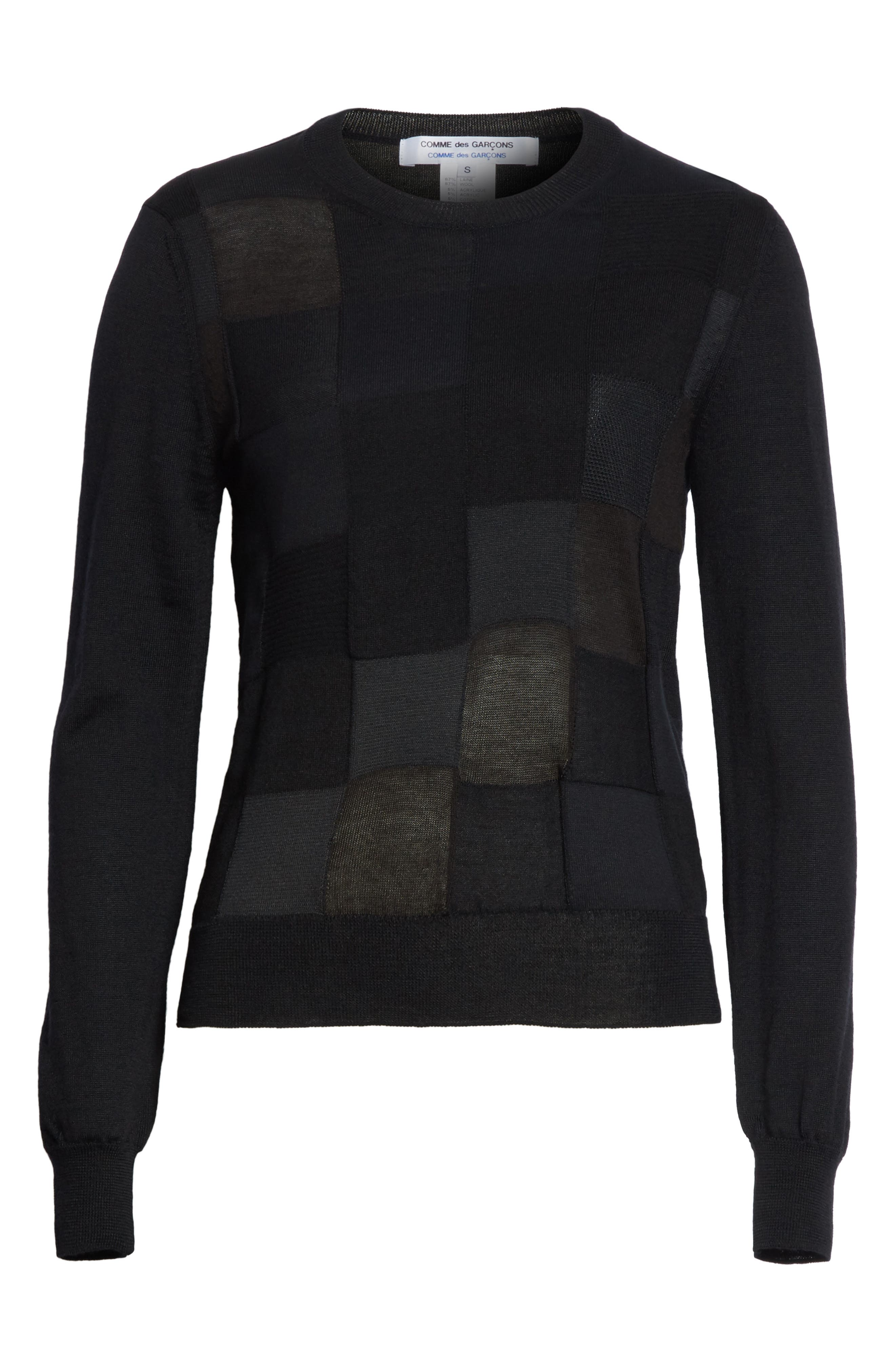 Checkered Knit Sweater,                             Alternate thumbnail 6, color,                             Black