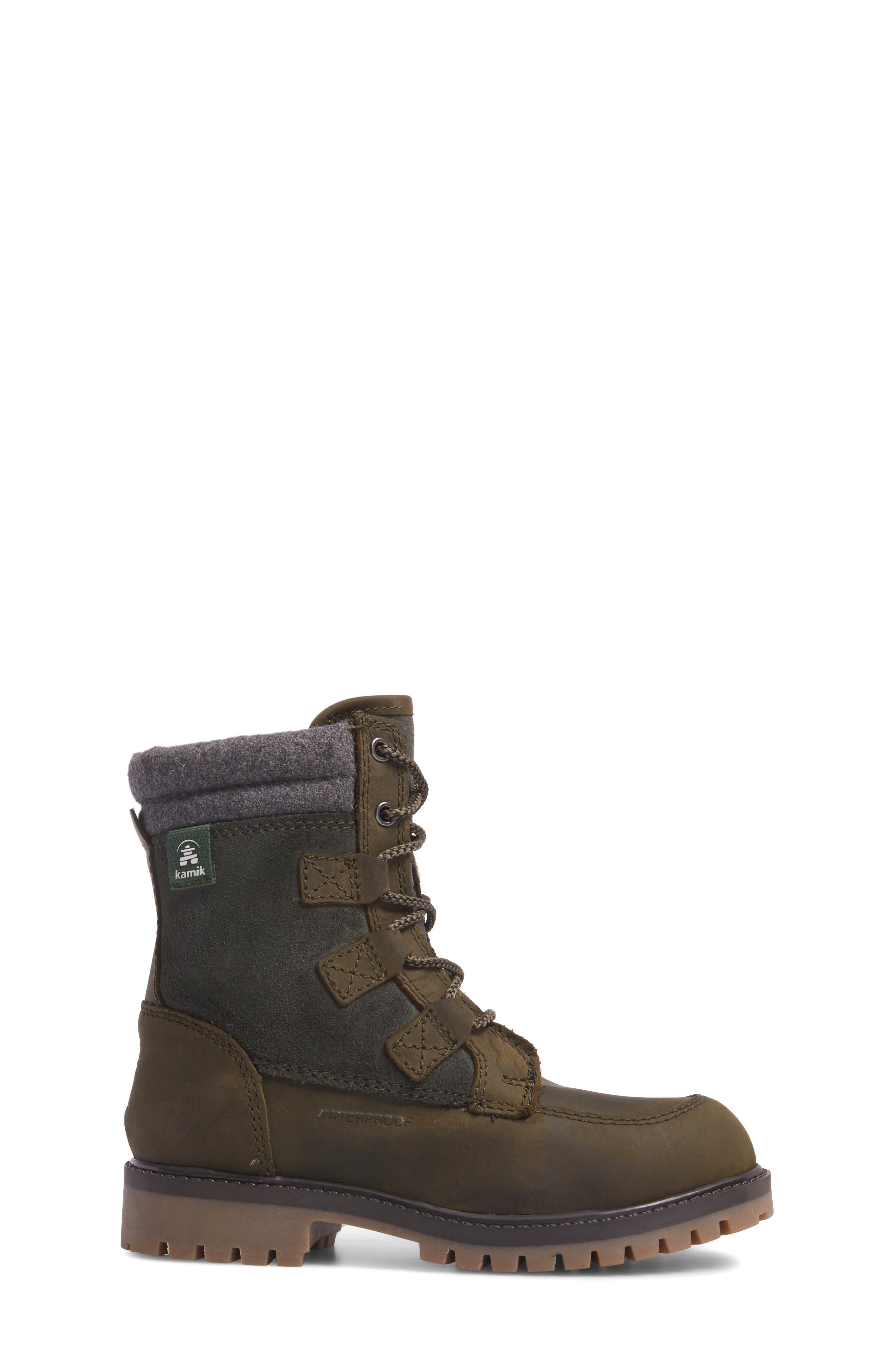 Takodalo Waterproof Boot,                             Alternate thumbnail 3, color,                             Olive