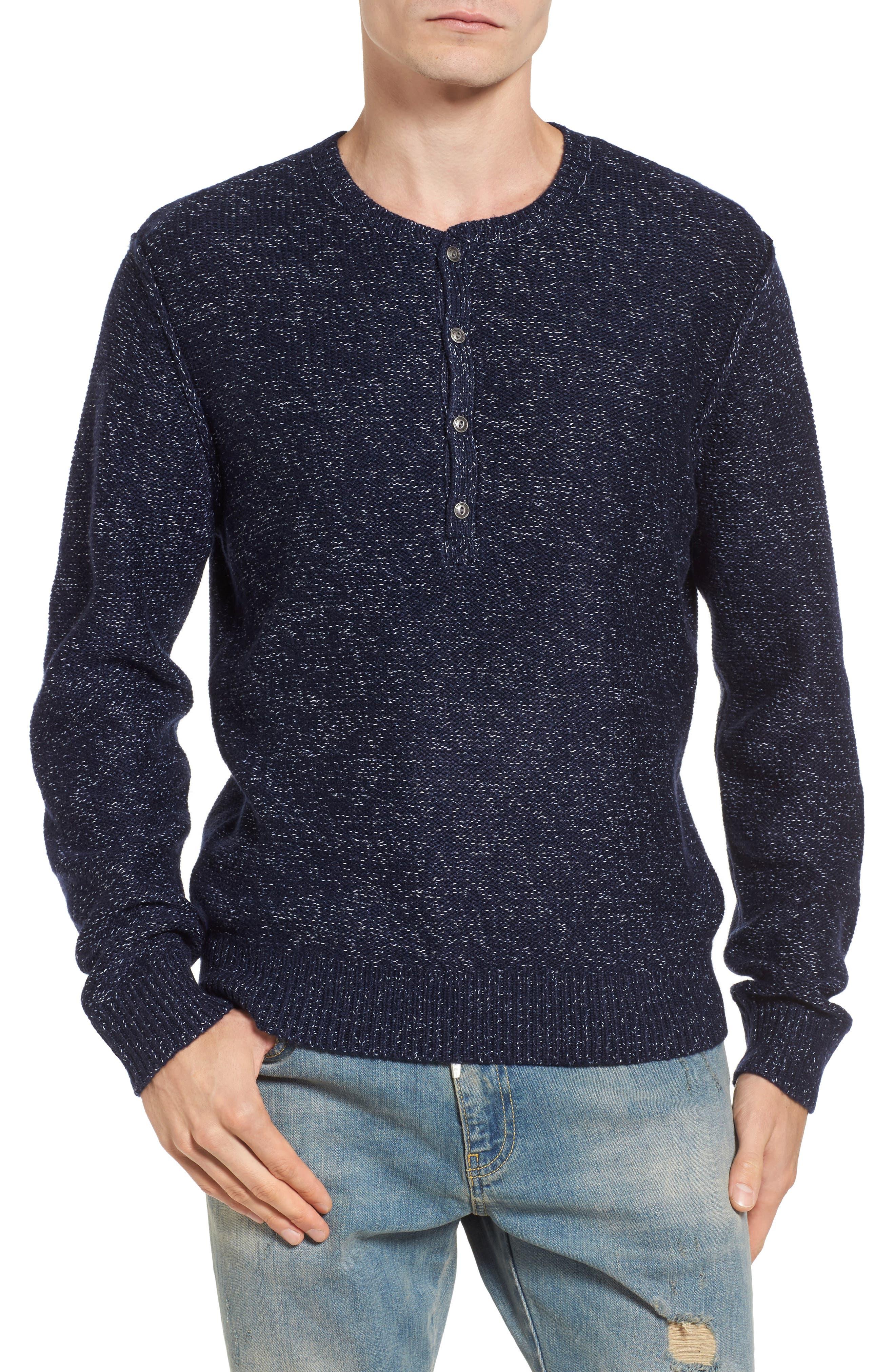 Marled Henley Sweater,                         Main,                         color, Navy Iris Marl