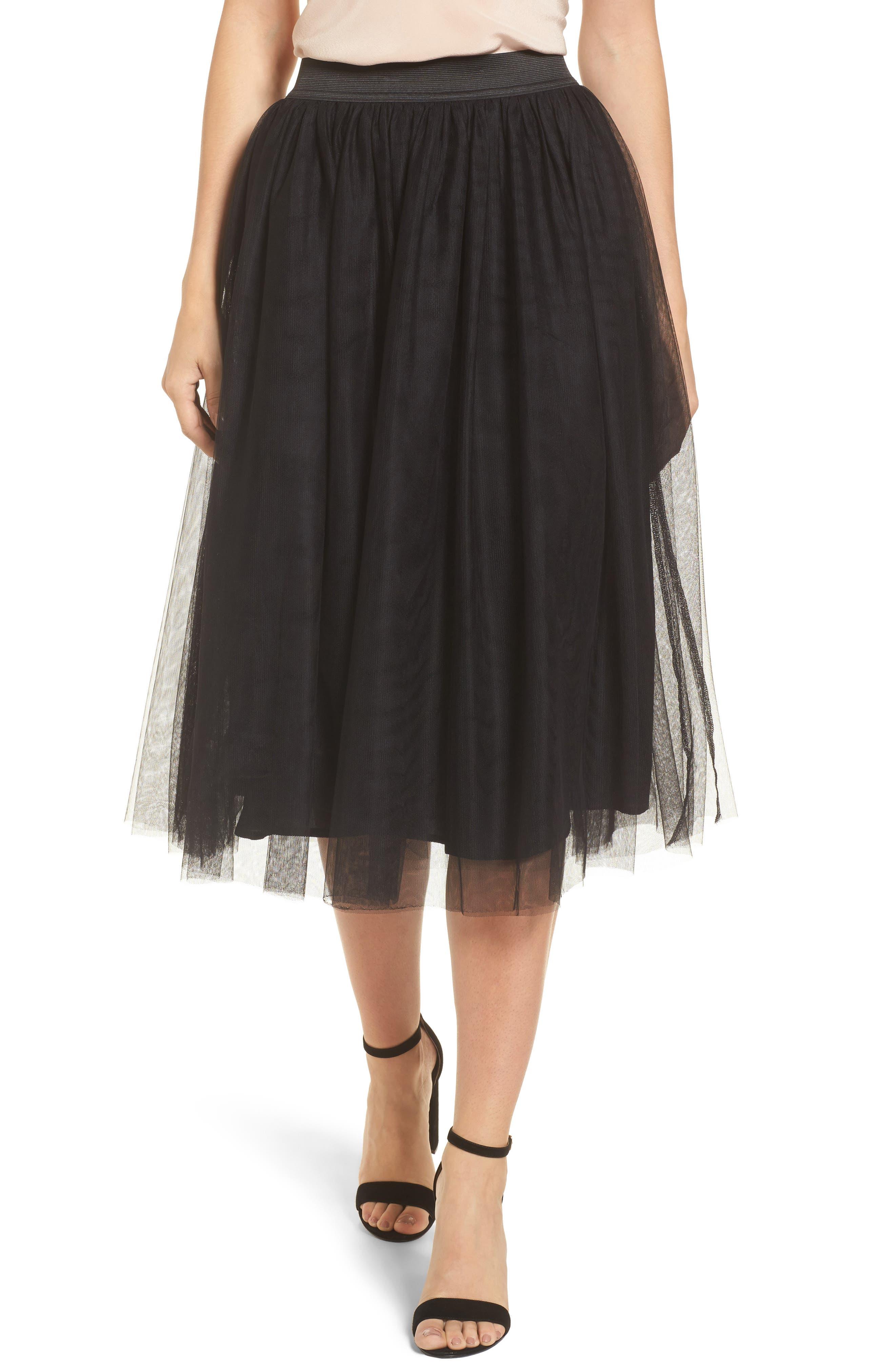Main Image - Halogen® Tulle Midi Skirt (Regular & Petite)