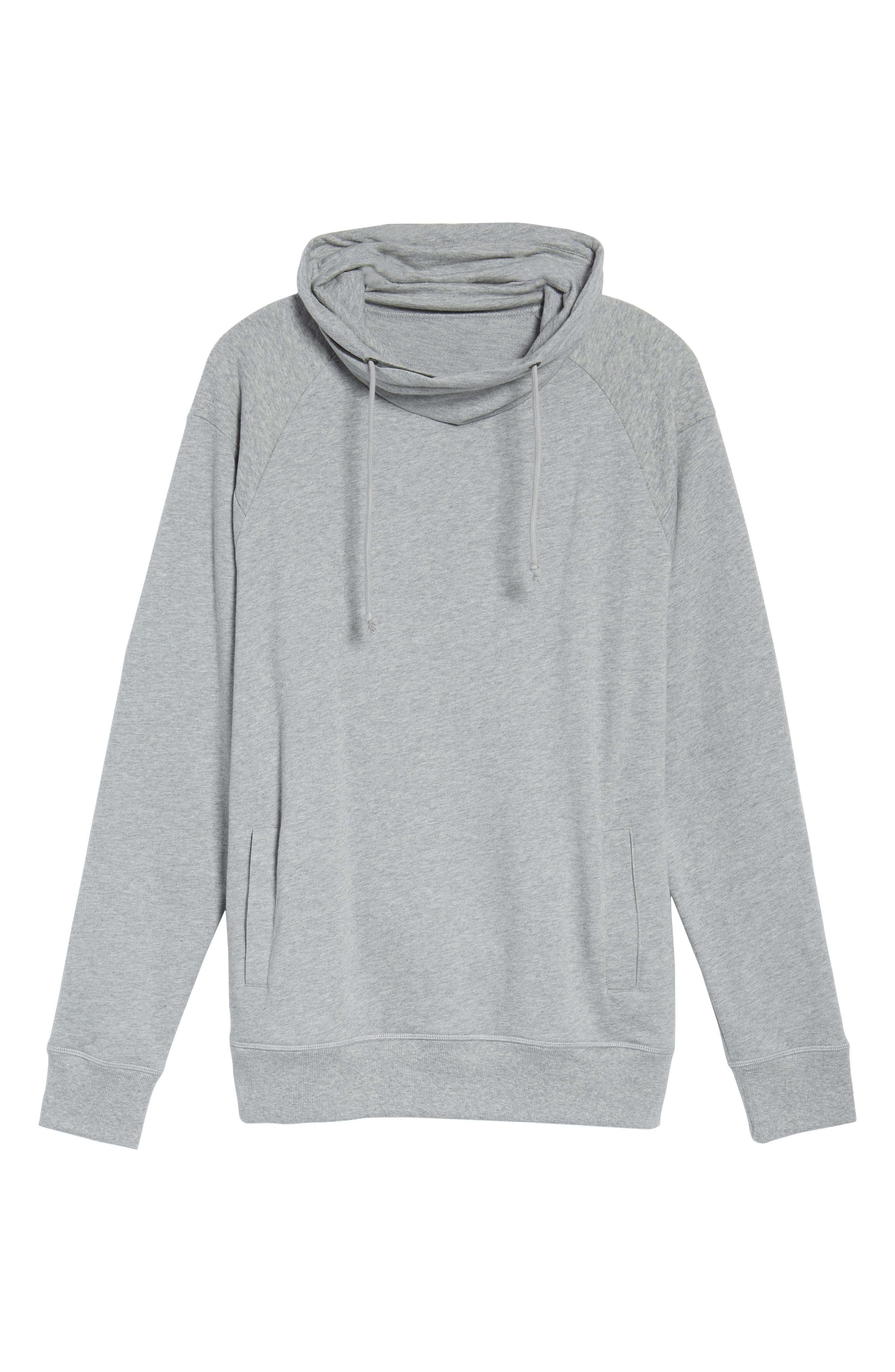 Quilted Funnel Neck Pullover,                             Alternate thumbnail 6, color,                             Grey Heather