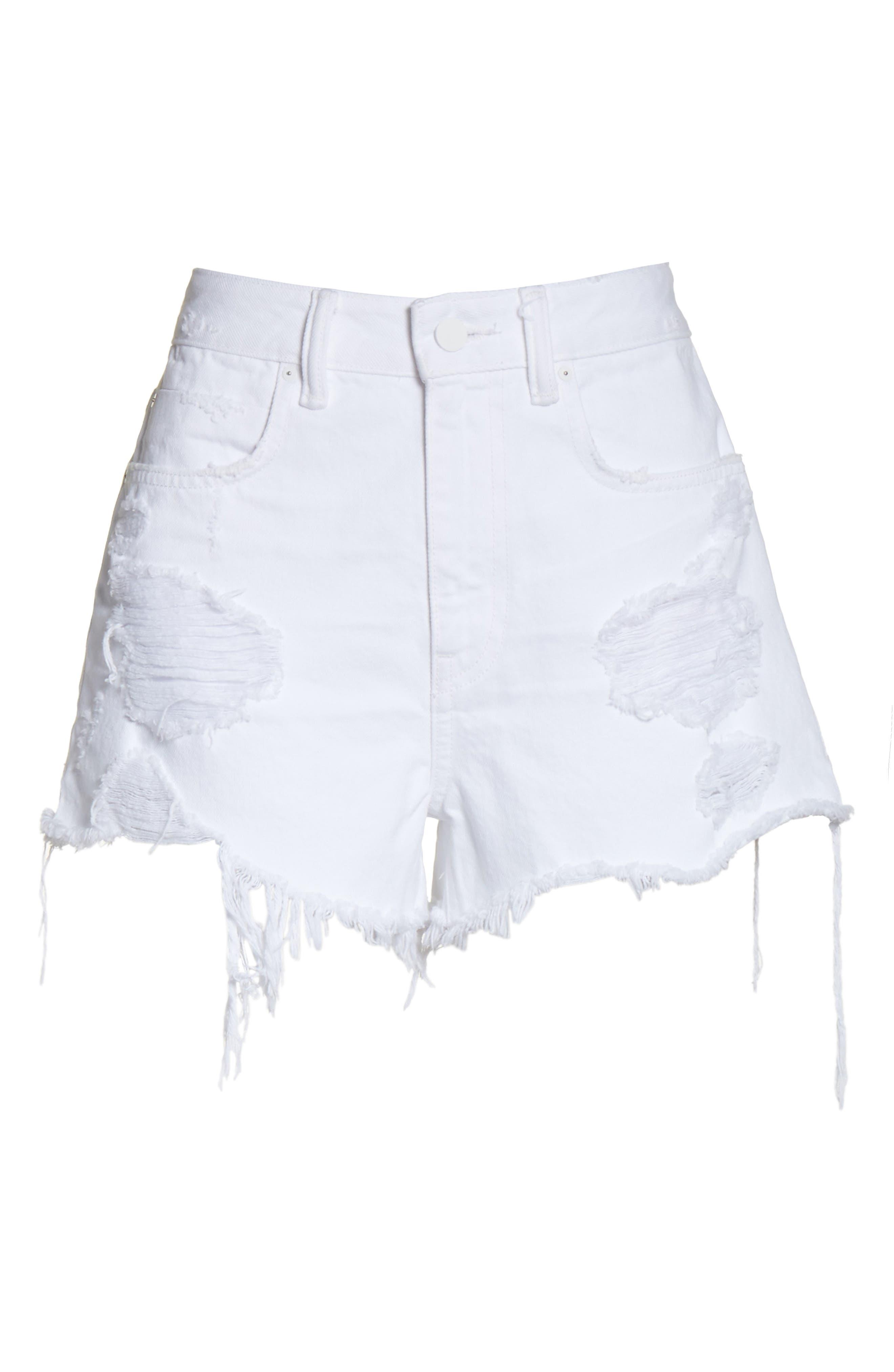 Bite White Ripped Denim Shorts,                             Alternate thumbnail 6, color,                             Bleached Destroy