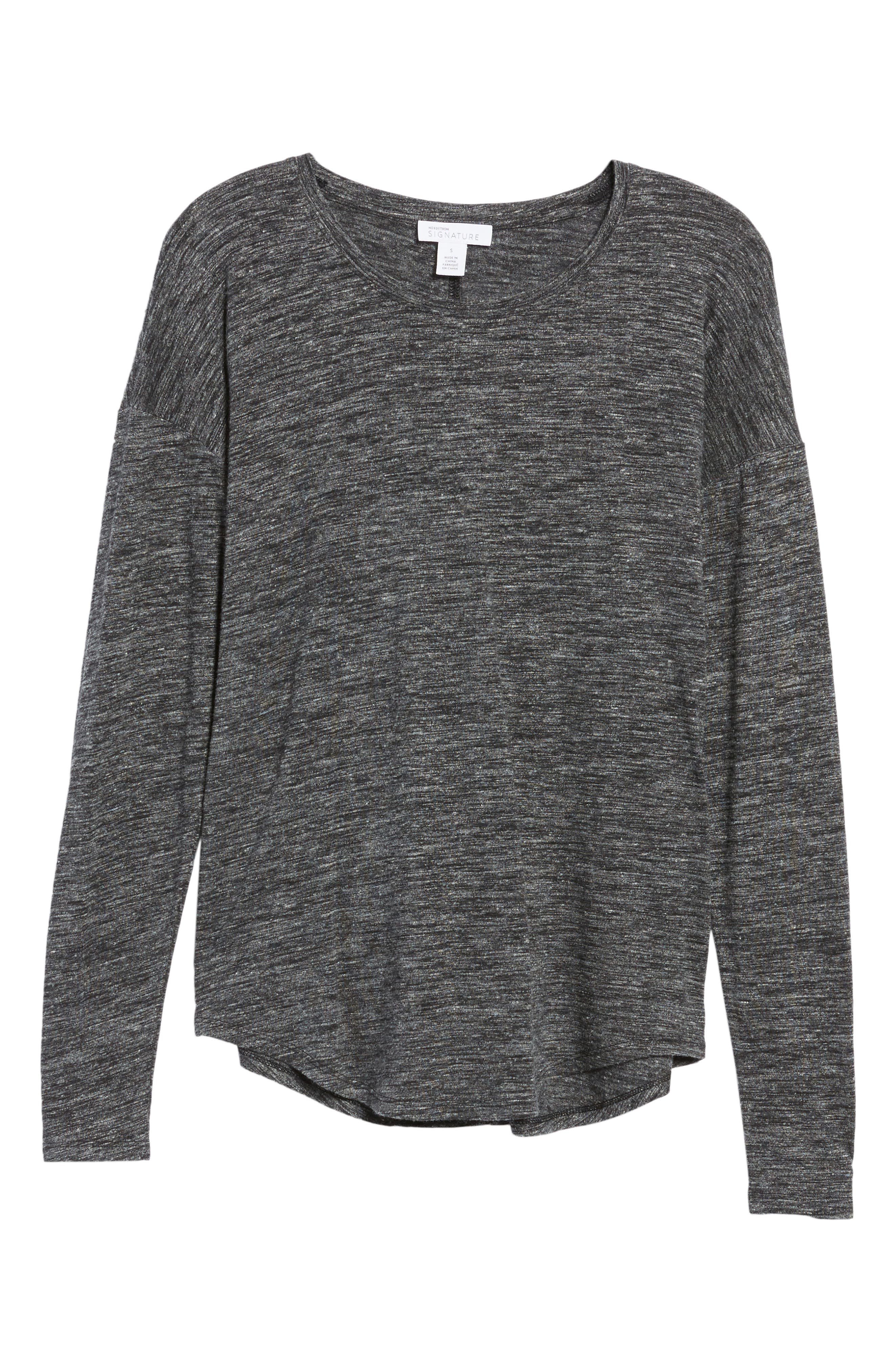 Long Sleeve Knit Tee,                             Alternate thumbnail 6, color,                             Black- White Space Dye
