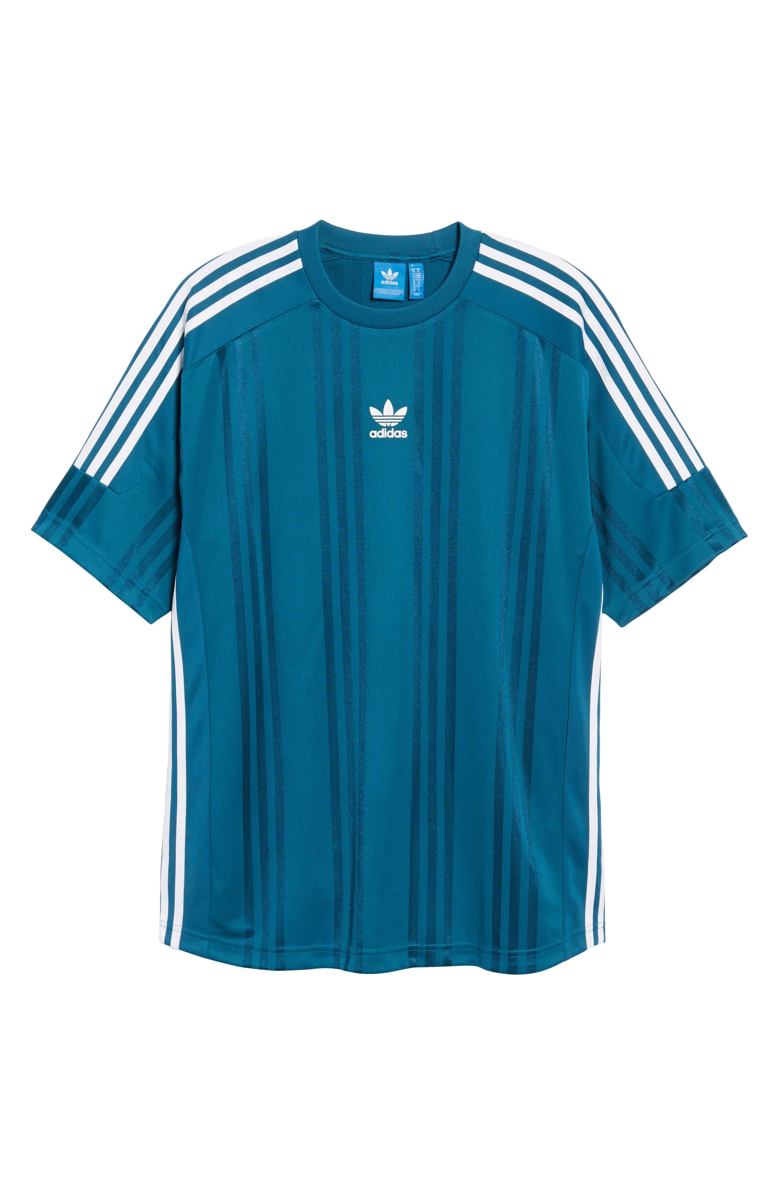 Originals Jacquard Stripe T-Shirt,                             Alternate thumbnail 6, color,                             Real Teal