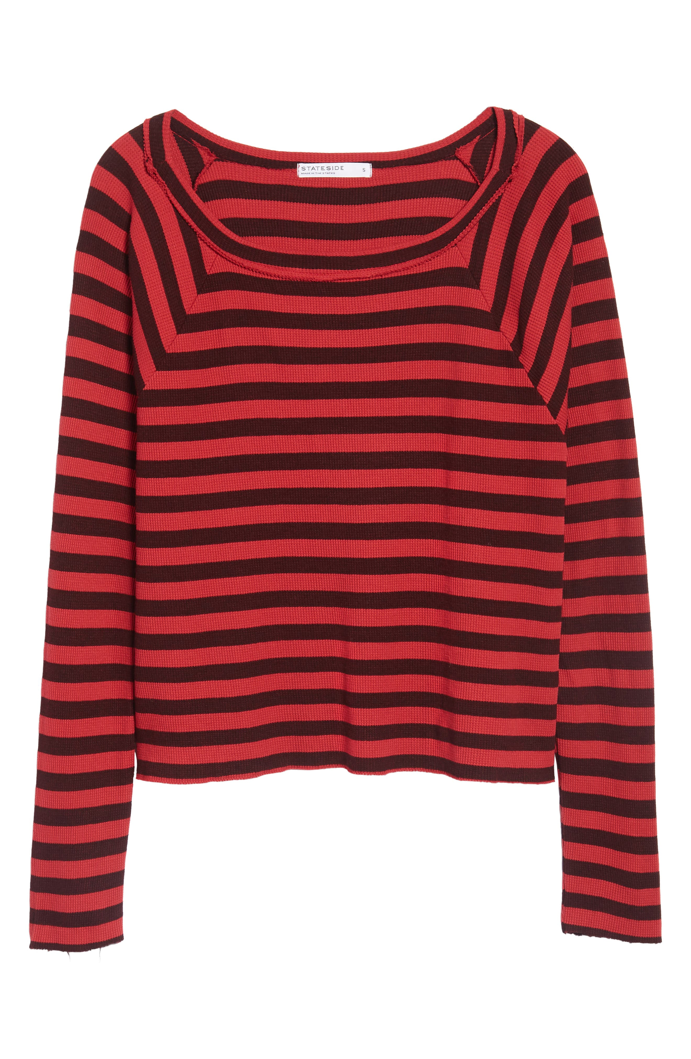 Stripe Thermal Top,                             Alternate thumbnail 6, color,                             Scarlet