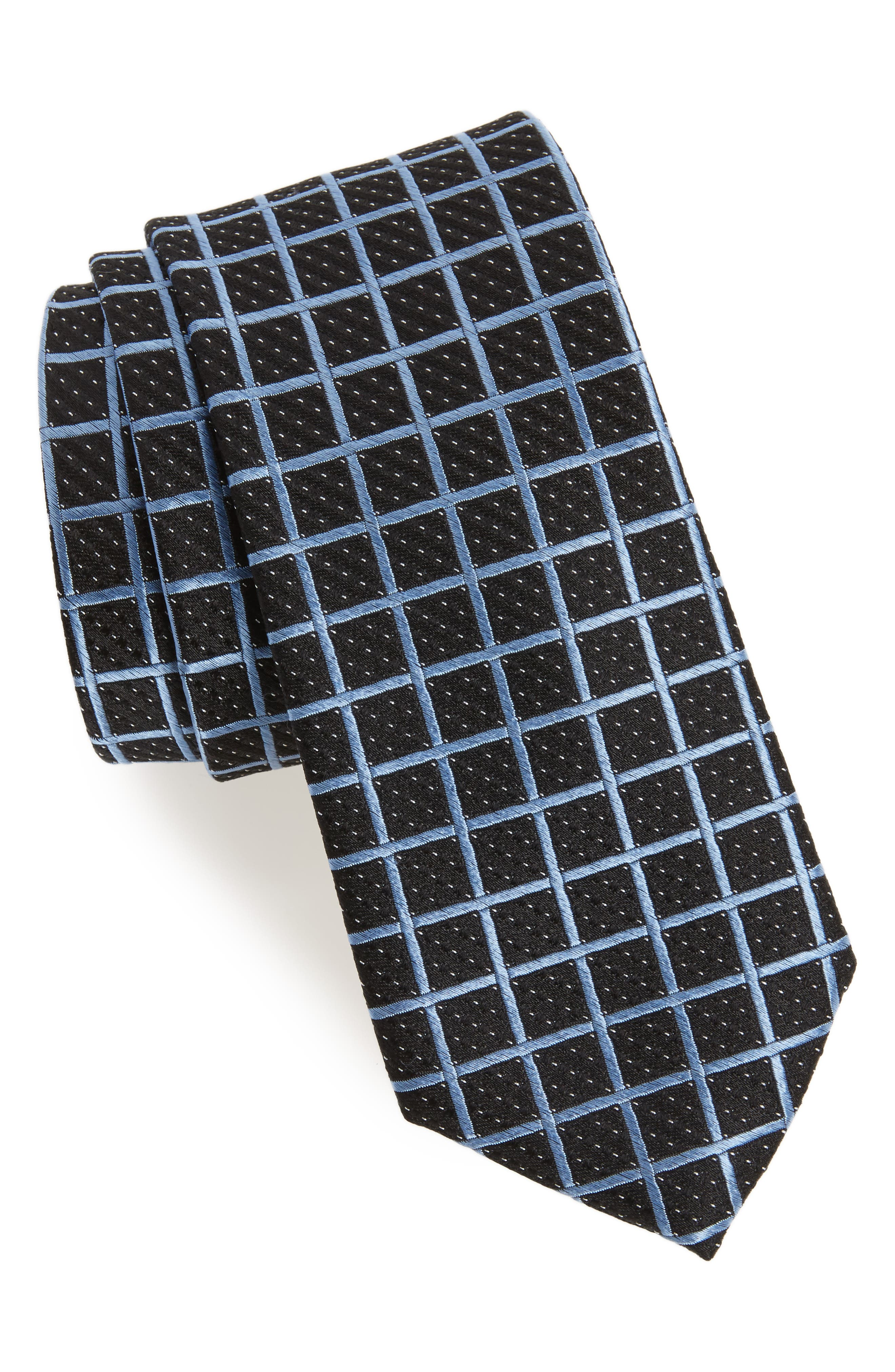 Tattersall Silk Tie,                             Main thumbnail 1, color,                             Black