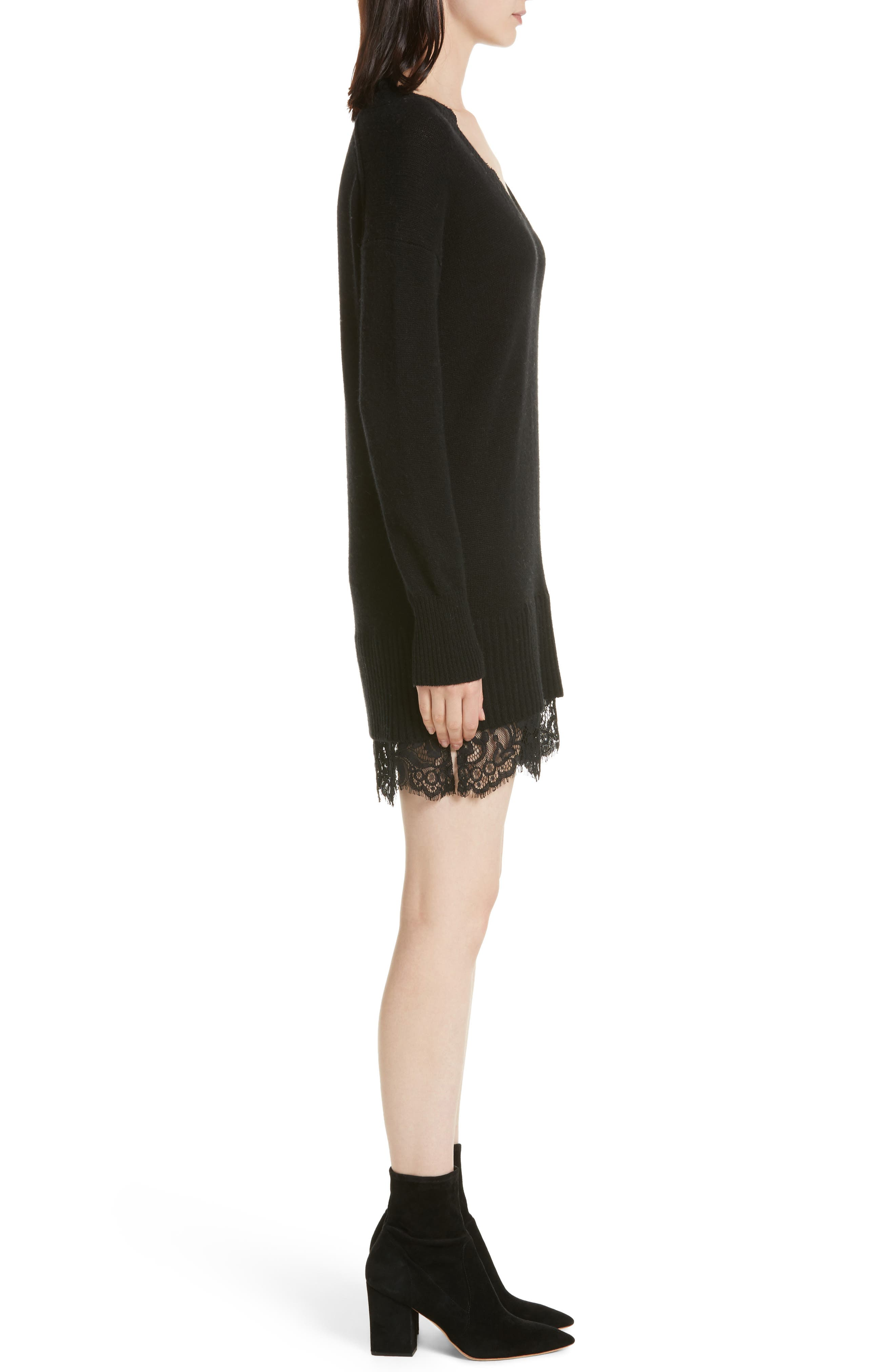 Lace Looker Sweater Dress,                             Alternate thumbnail 3, color,                             Black Onyx