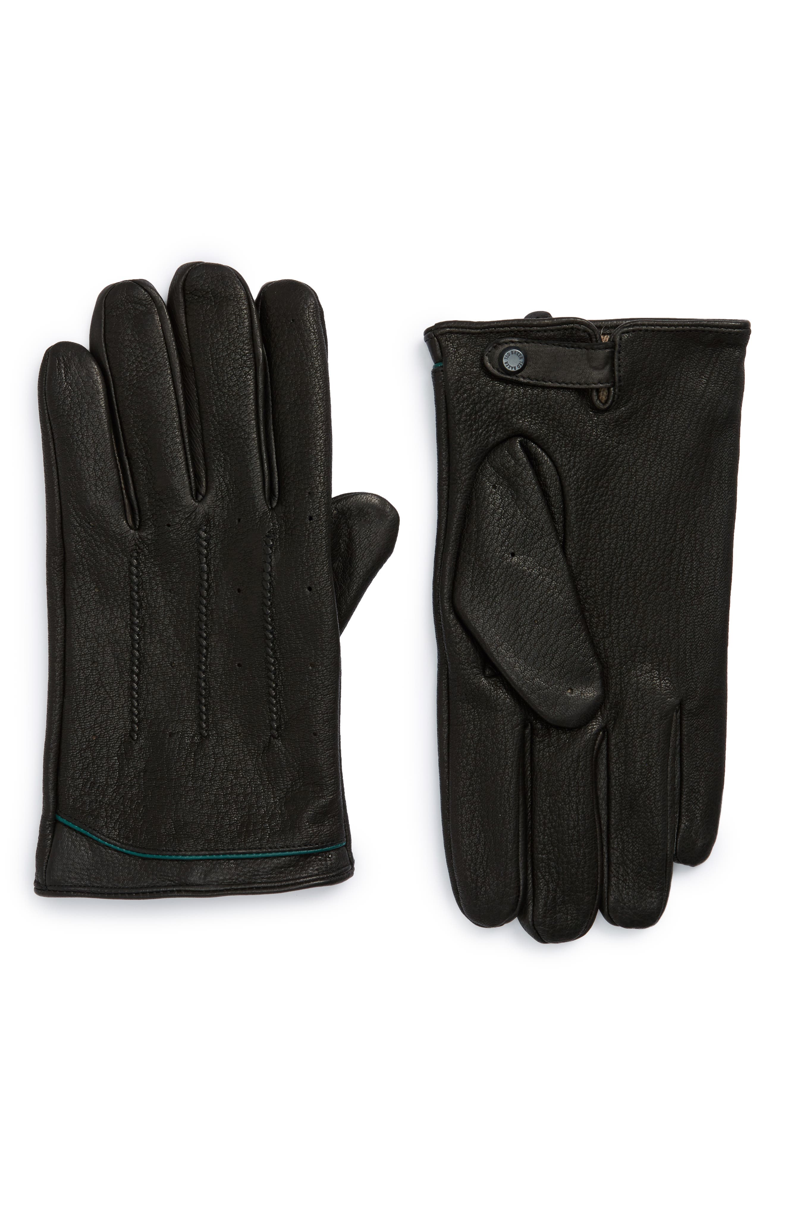 Roots Leather Driving Gloves,                         Main,                         color, Black