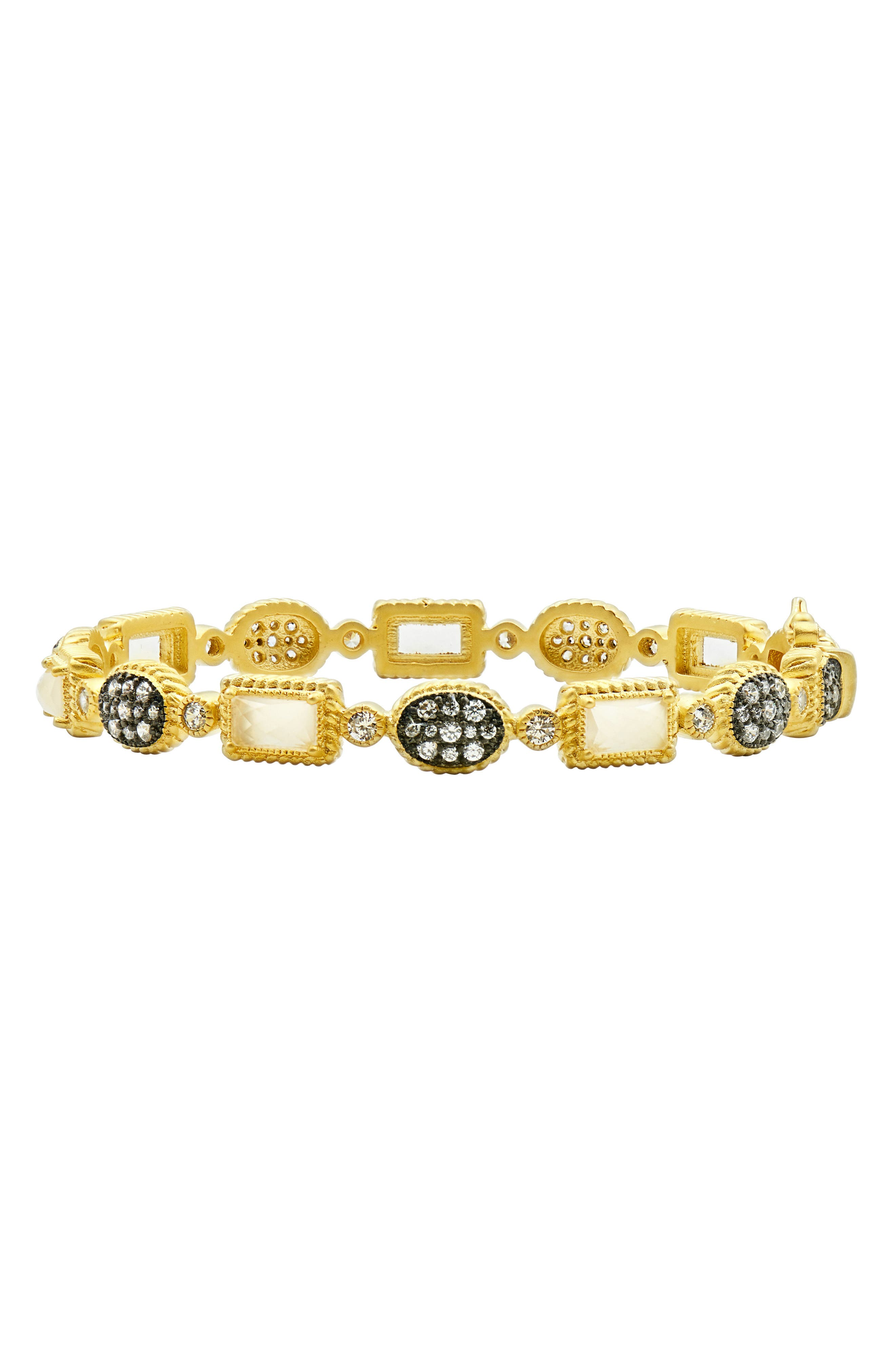 Gilded Cable Stone Station Hinge Bangle,                             Main thumbnail 1, color,                             Black/ Gold