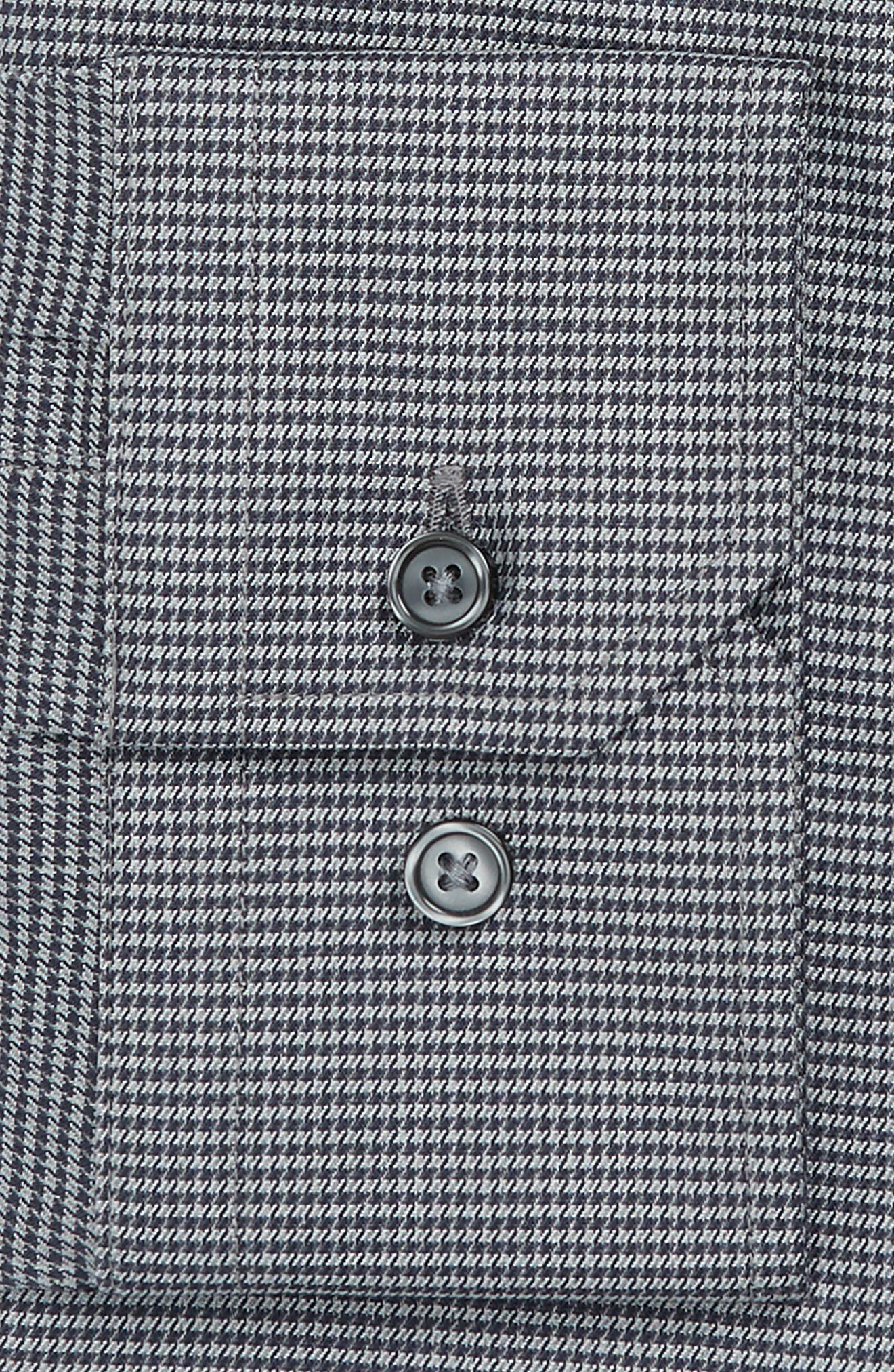 Trim Fit No-Iron Micro Houndstooth Stretch Dress Shirt,                             Alternate thumbnail 4, color,                             Grey Onyx
