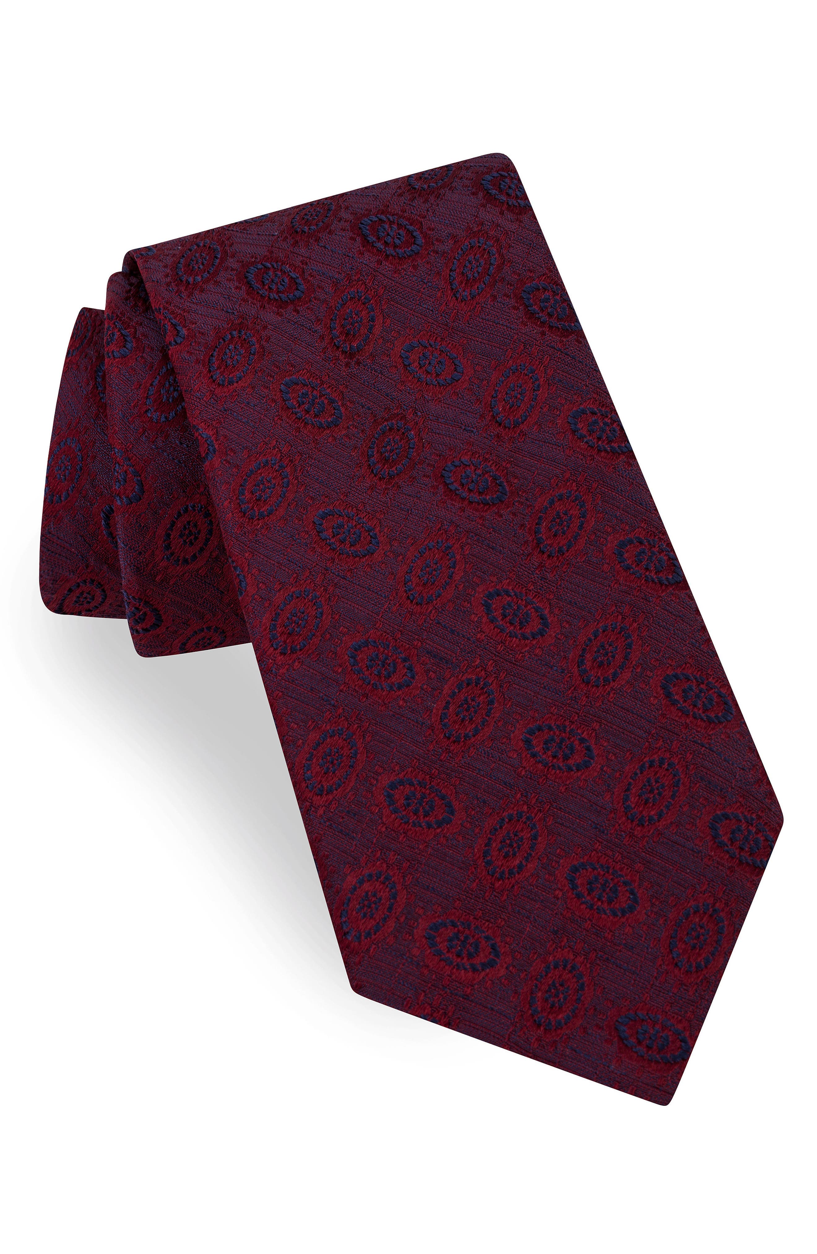 Oval Medallion Silk Tie,                             Main thumbnail 1, color,                             Red