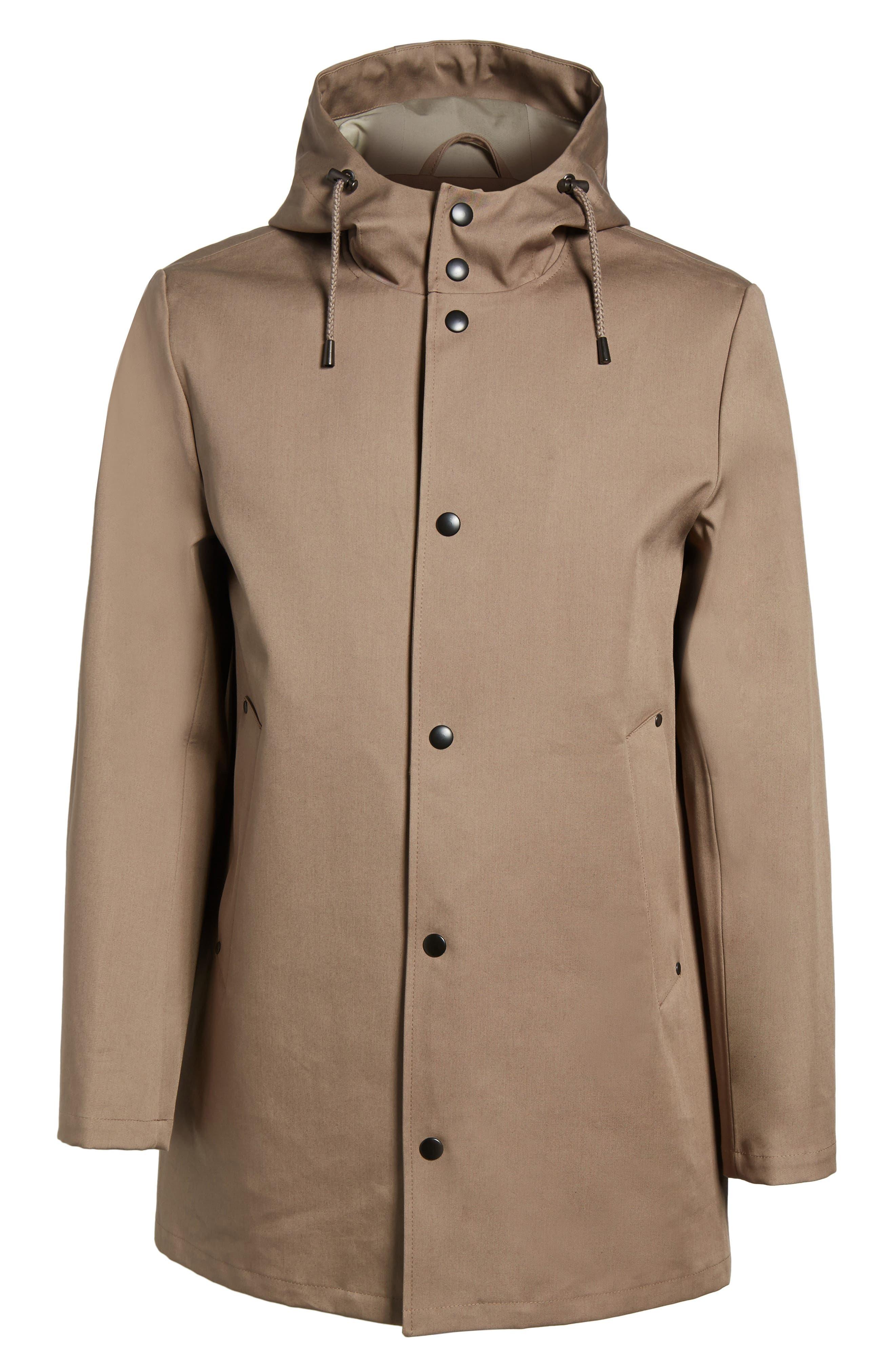 Stockholm Bonded Waterproof Hooded Raincoat,                             Alternate thumbnail 6, color,                             Mole