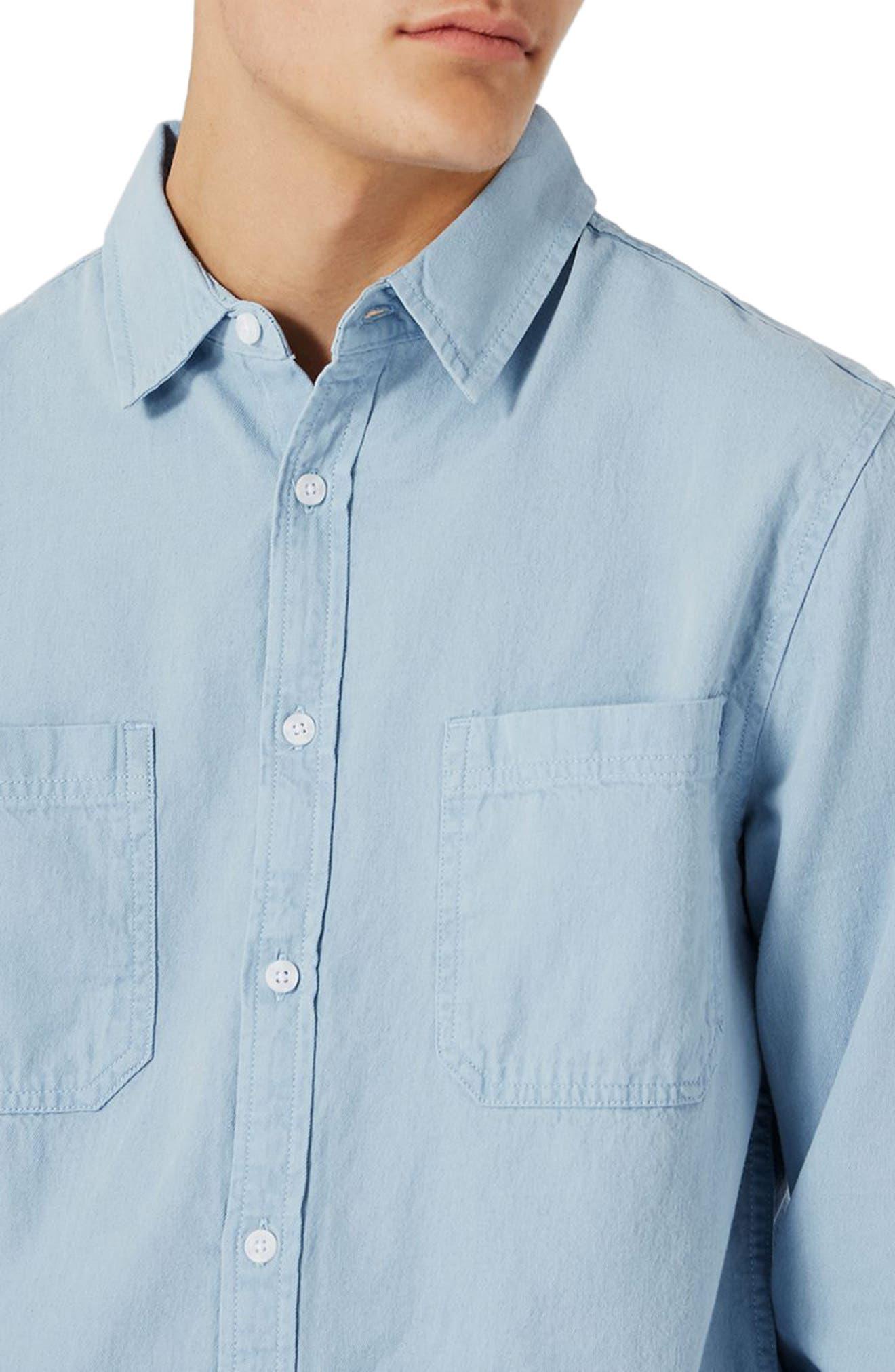 Alternate Image 4  - Topman Washed Twill Shirt