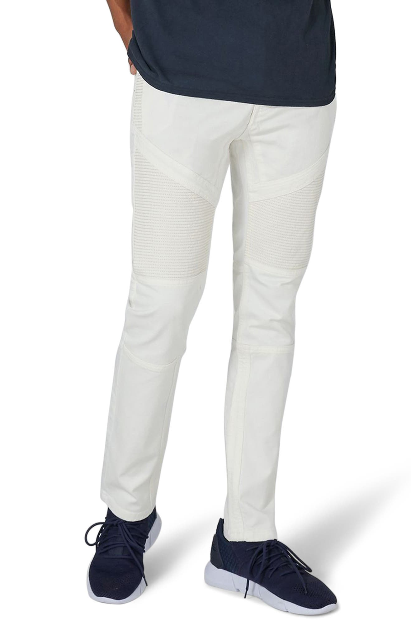 Biker Stretch Skinny Jeans,                             Main thumbnail 1, color,                             Cream