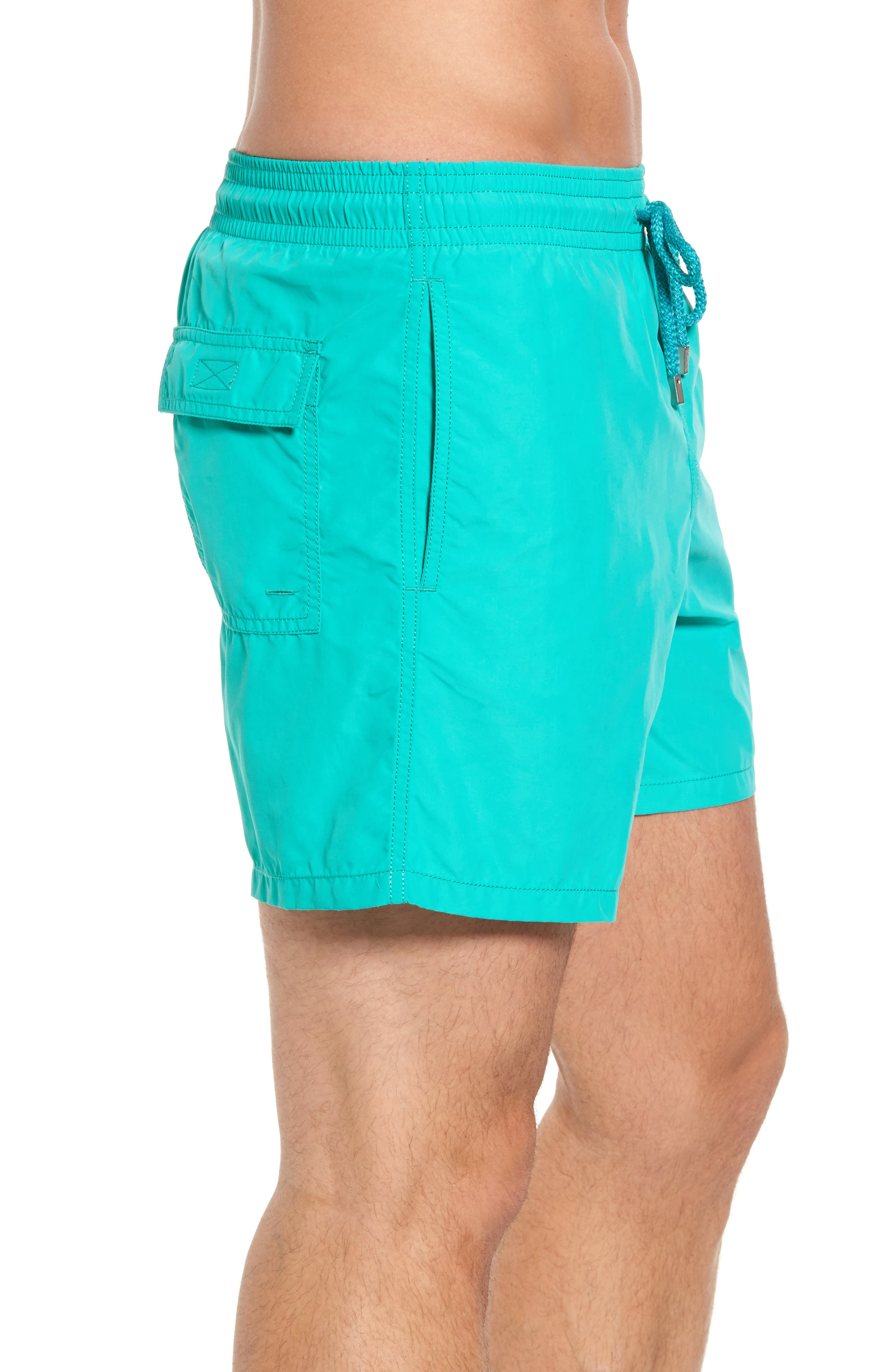 Sardine Water Reactive Swim Trunks,                             Alternate thumbnail 3, color,                             Veronese Green