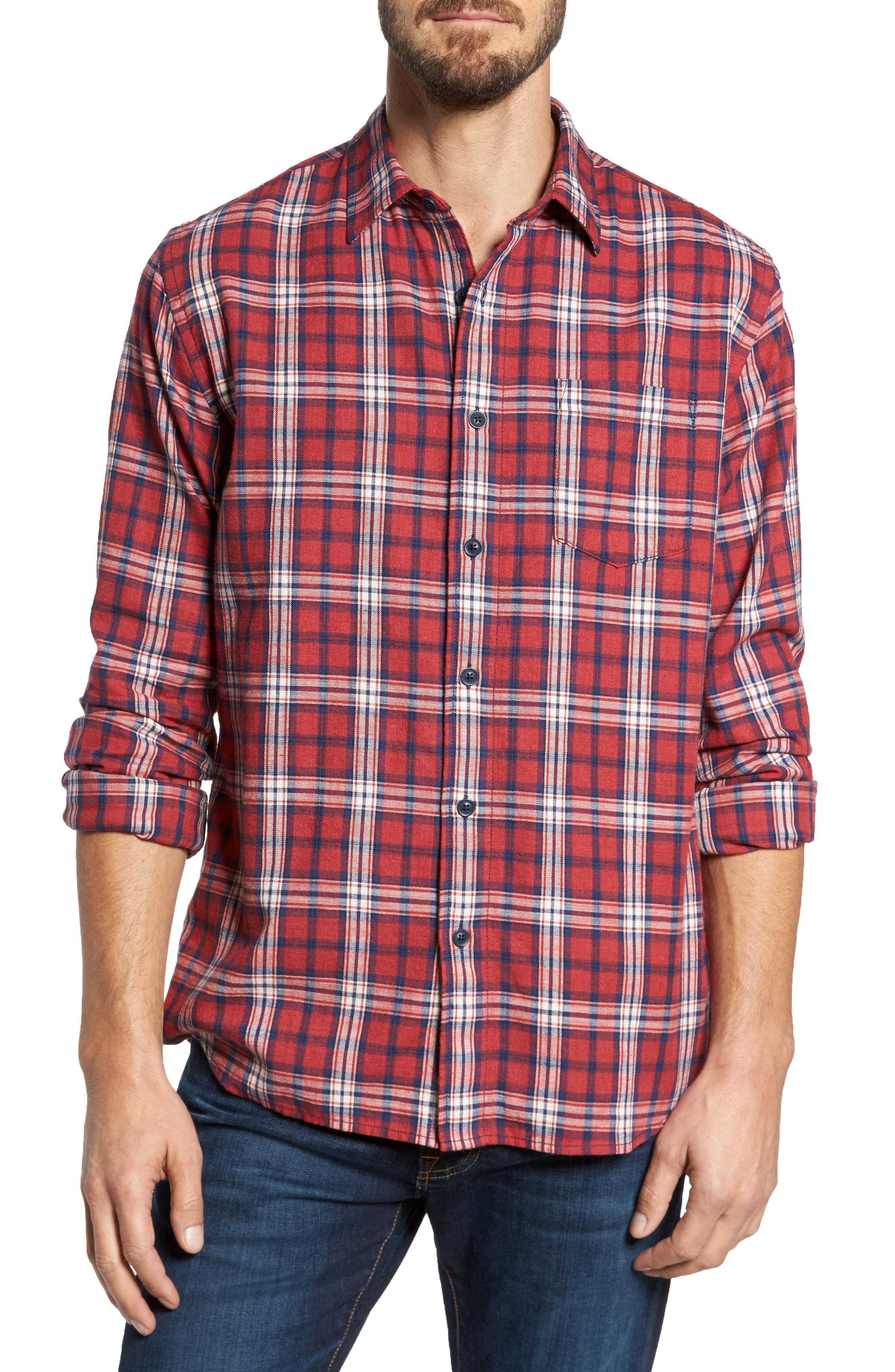 Winslow Slub Plaid Twill Sport Shirt,                         Main,                         color, Red