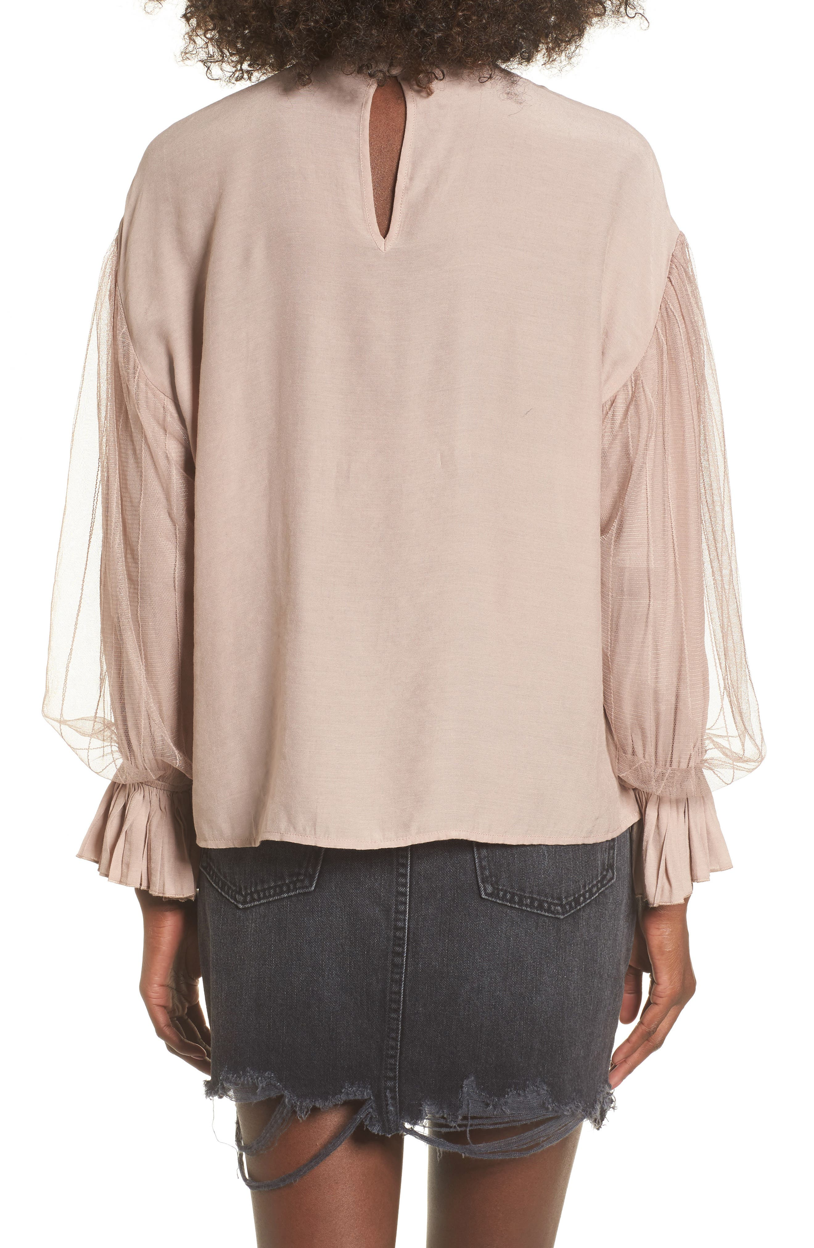 Tulle Puff Sleeve Top,                             Alternate thumbnail 2, color,                             Dusty Rose