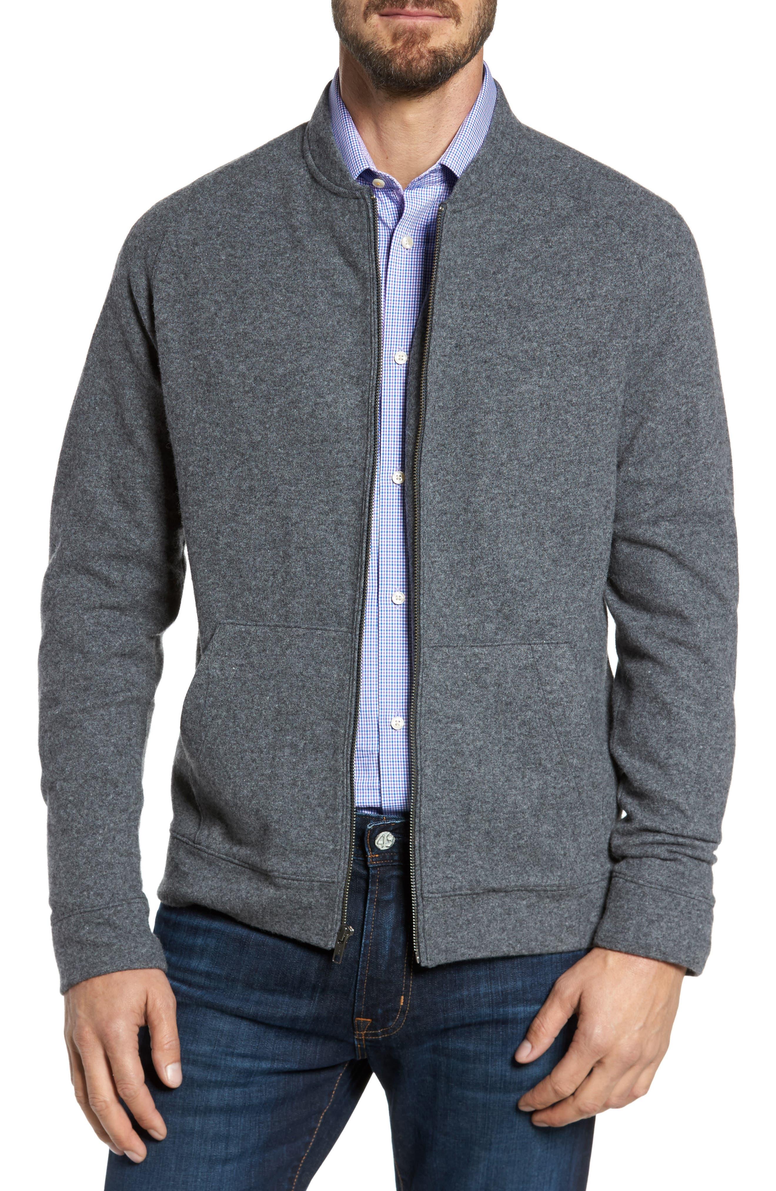 Wool Blend Fleece Bomber Jacket,                             Main thumbnail 1, color,                             Grey Charcoal