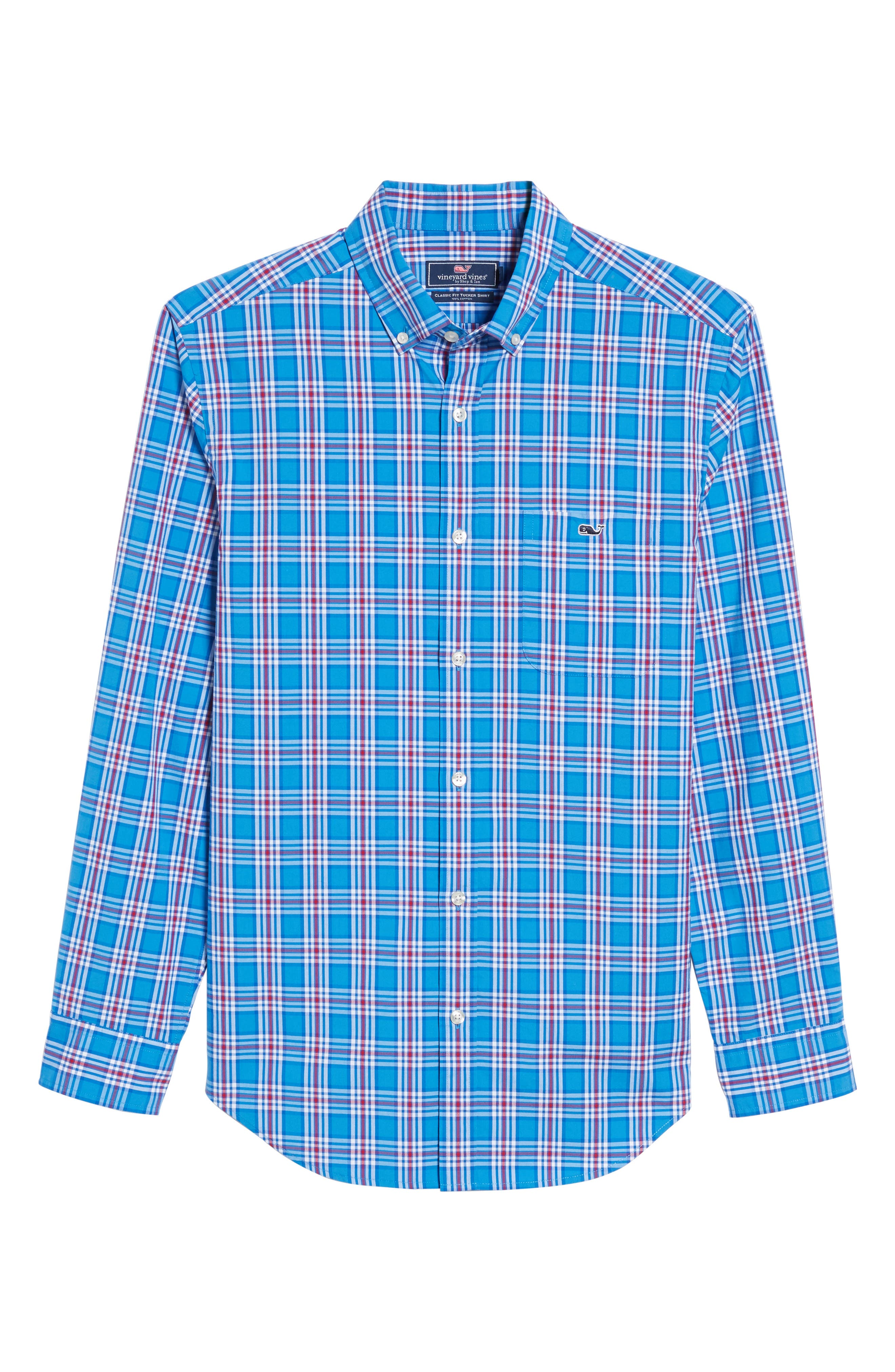 Tucker Chandler Pond Classic Fit Plaid Sport Shirt,                             Alternate thumbnail 6, color,                             Hull Blue