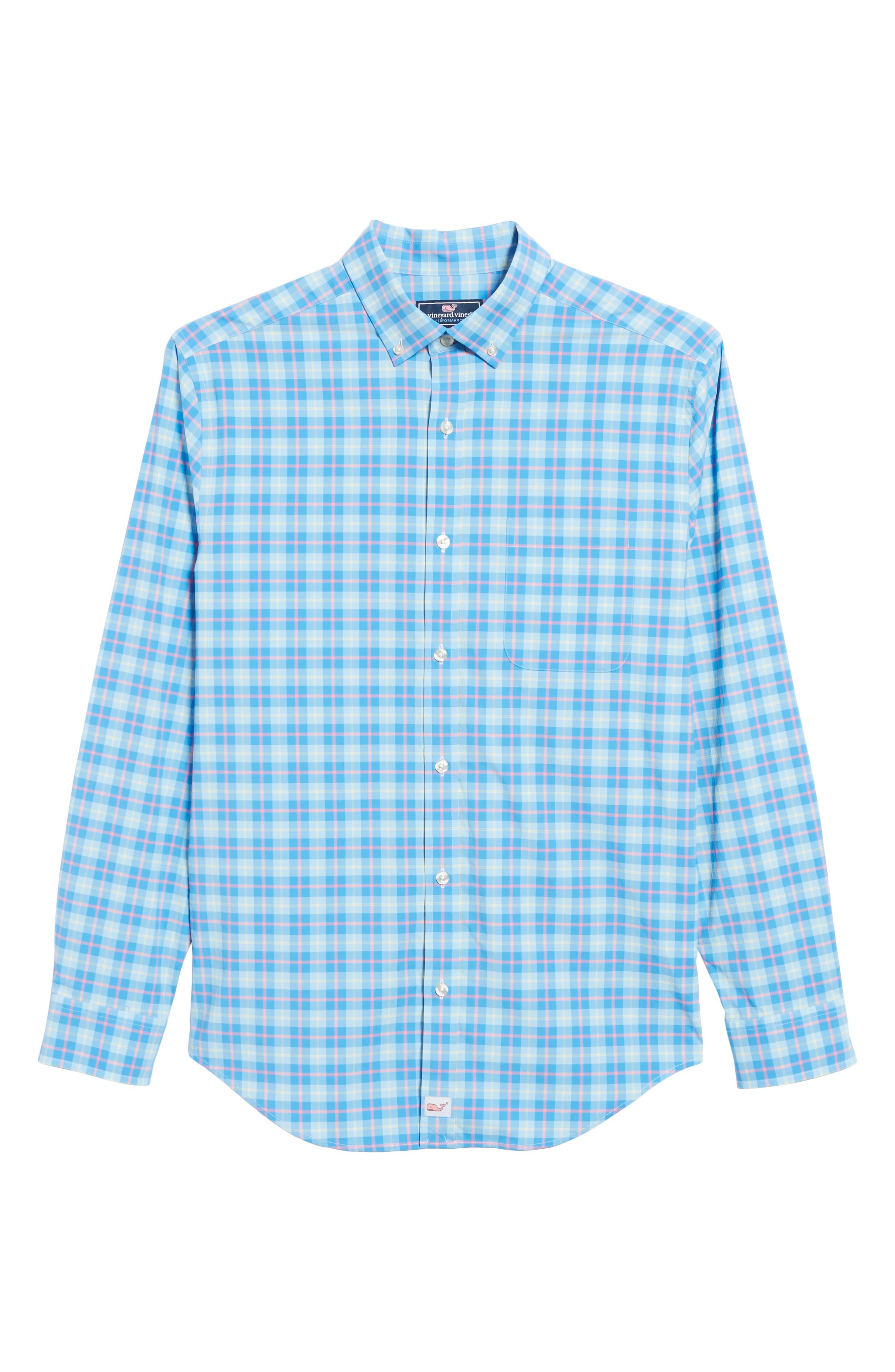 Alternate Image 6  - vineyard vines Blue Heron Classic Fit Plaid Sport Shirt