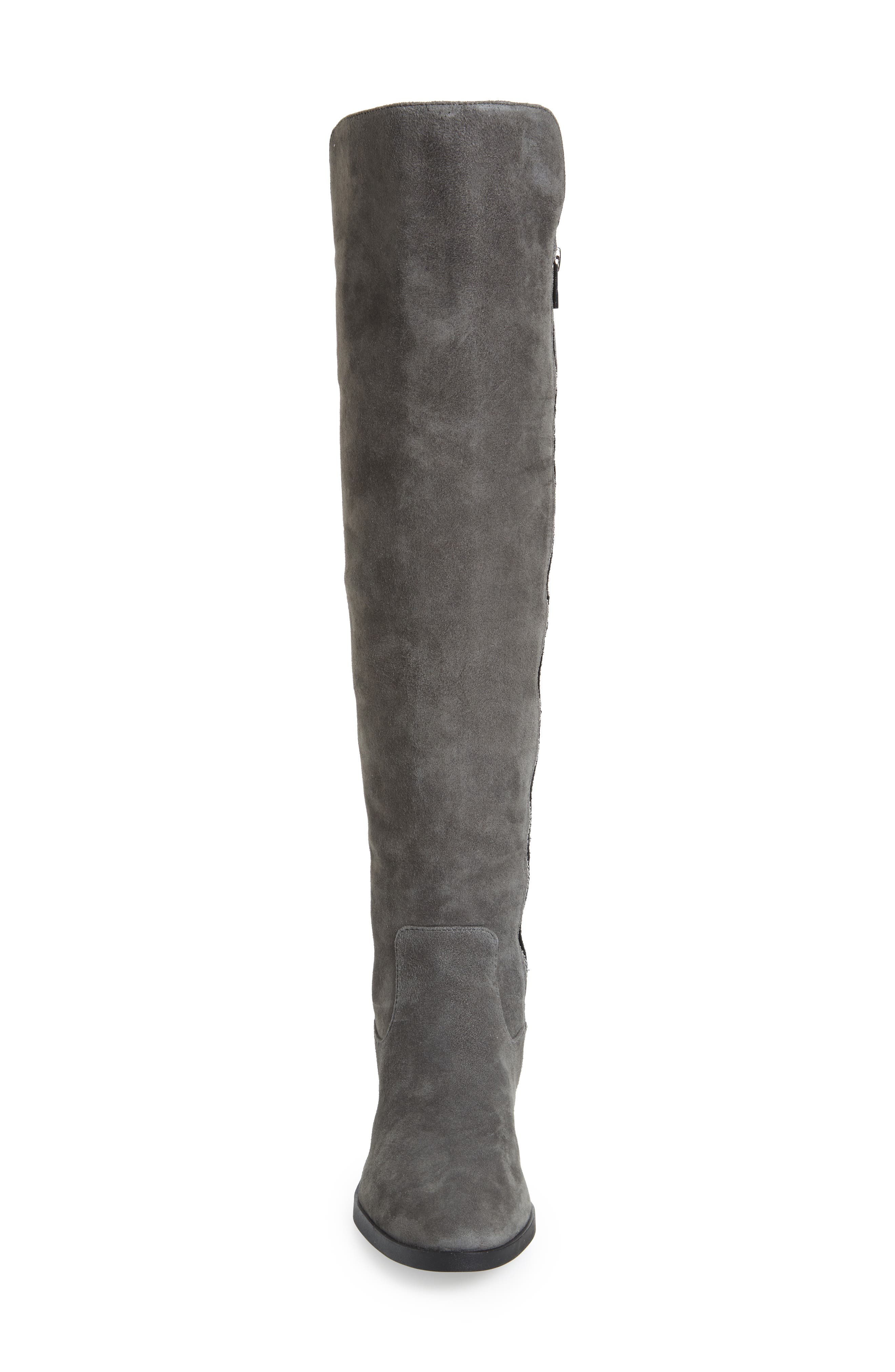 Priya Over the Knee Boot,                             Alternate thumbnail 4, color,                             Slate/ Black Suede