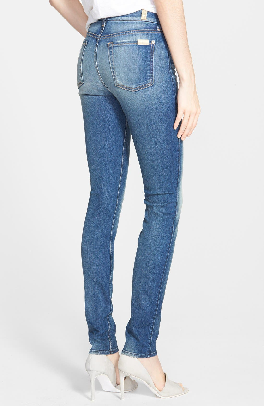 Alternate Image 2  - 7 For All Mankind® Mid Rise Skinny Jeans (Distressed Authentic Light)