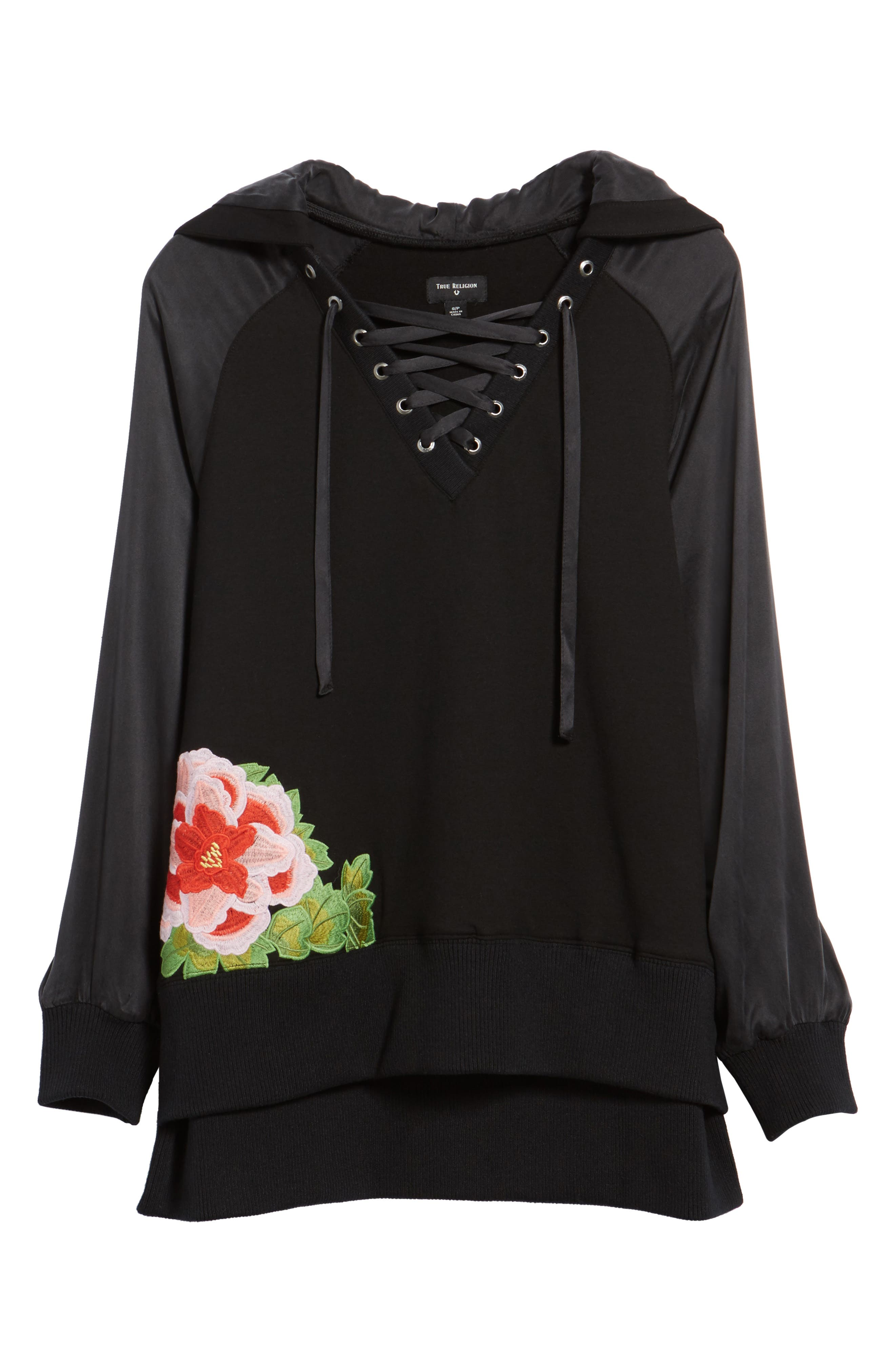 True Religion Lace-Up Pullover,                             Alternate thumbnail 6, color,                             Black