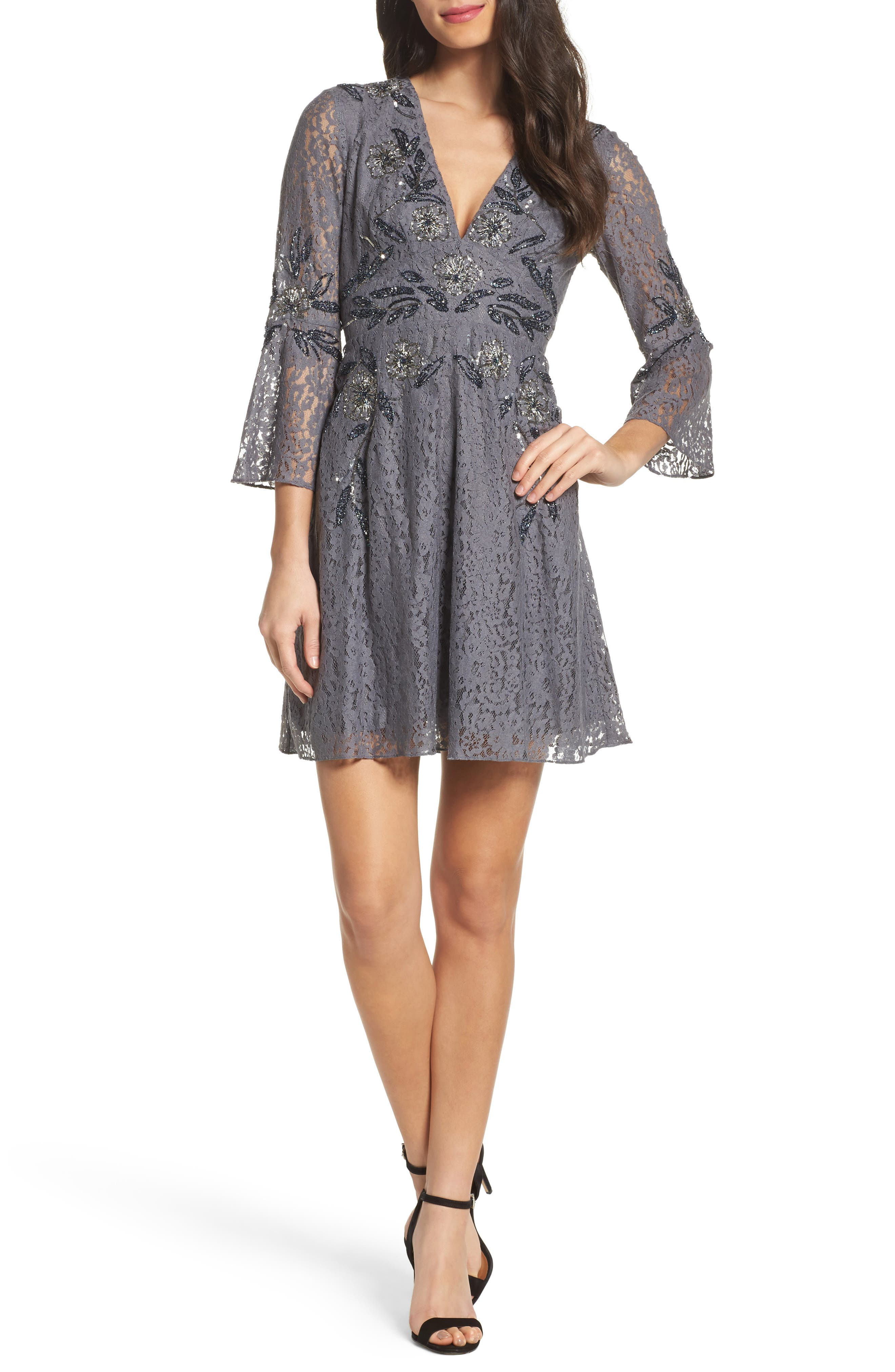 Esme Shimmer Beaded Lace Dress,                         Main,                         color, Smokey
