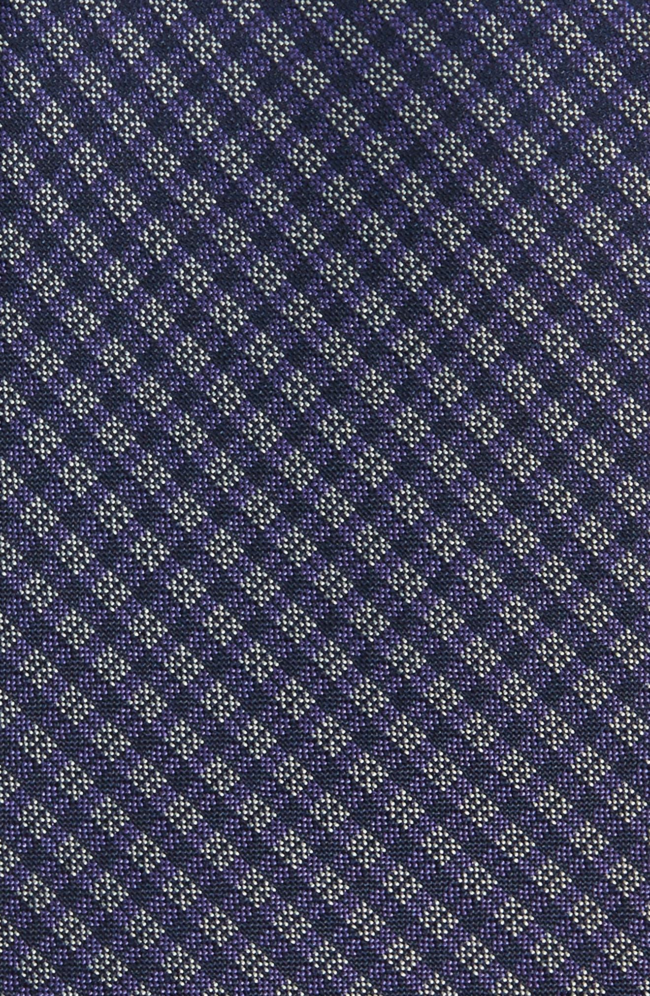 Microcheck Silk Tie,                             Alternate thumbnail 2, color,                             Purple