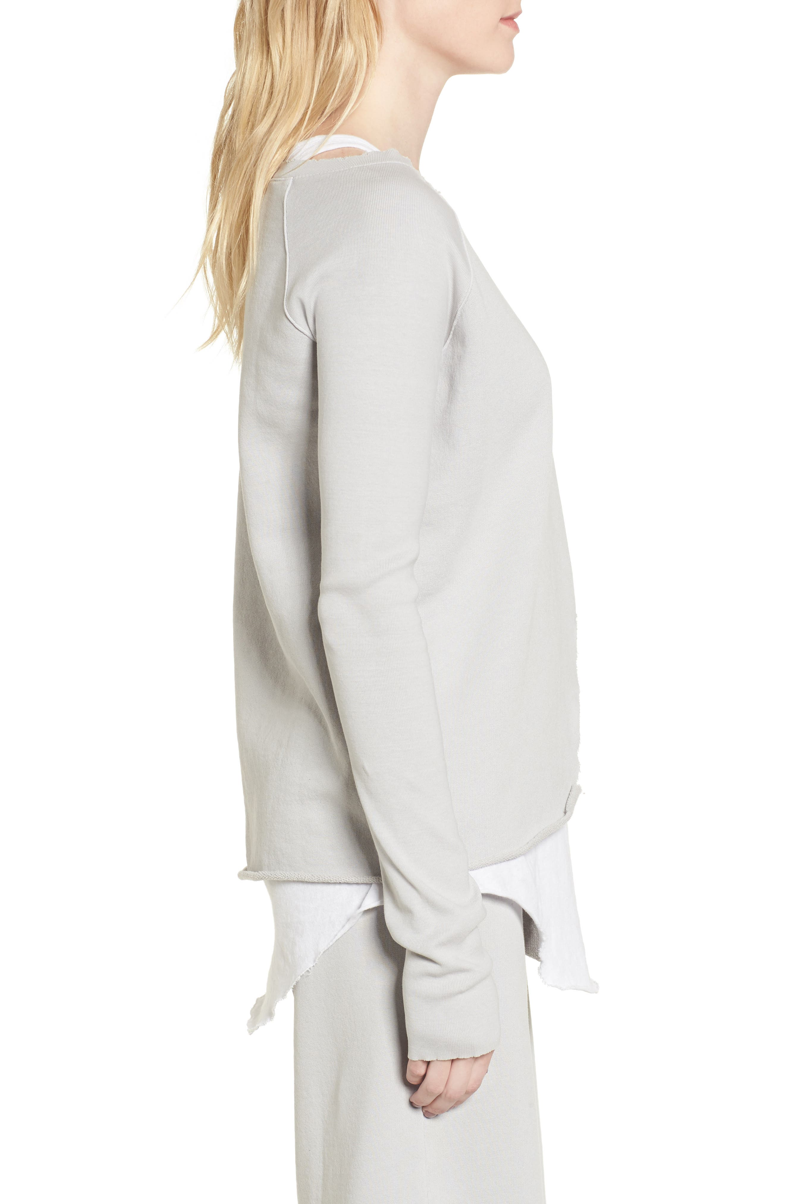 Asymmetric Sweatshirt,                             Alternate thumbnail 3, color,                             Grey Area