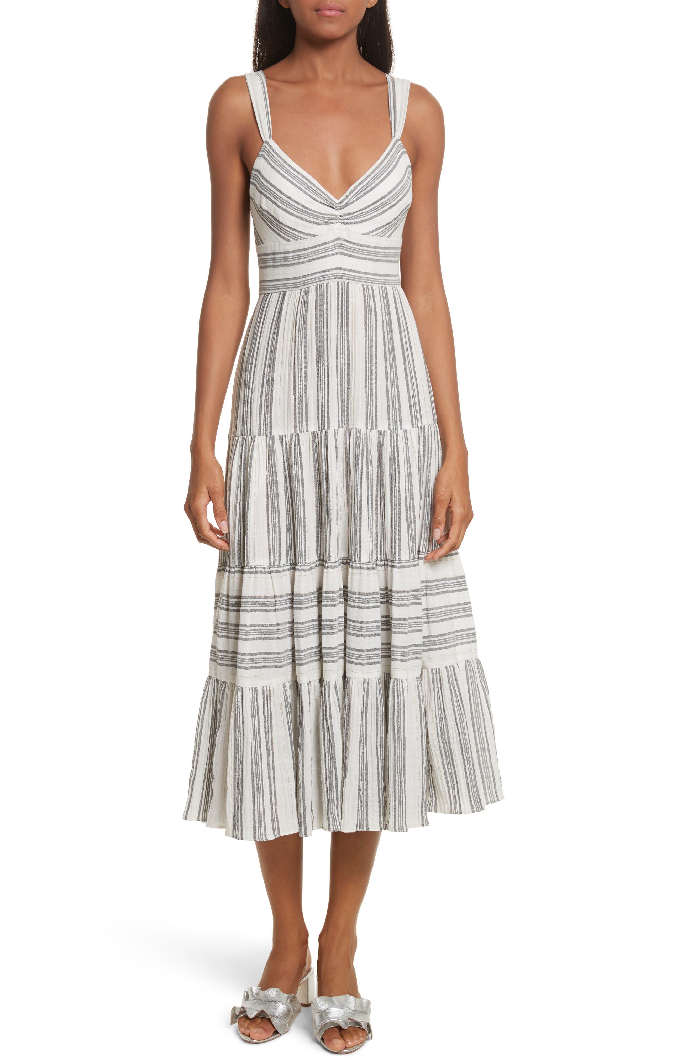 Sleeveless Gauzy Stripe Dress,                         Main,                         color, Milk/ Washed Black Combo