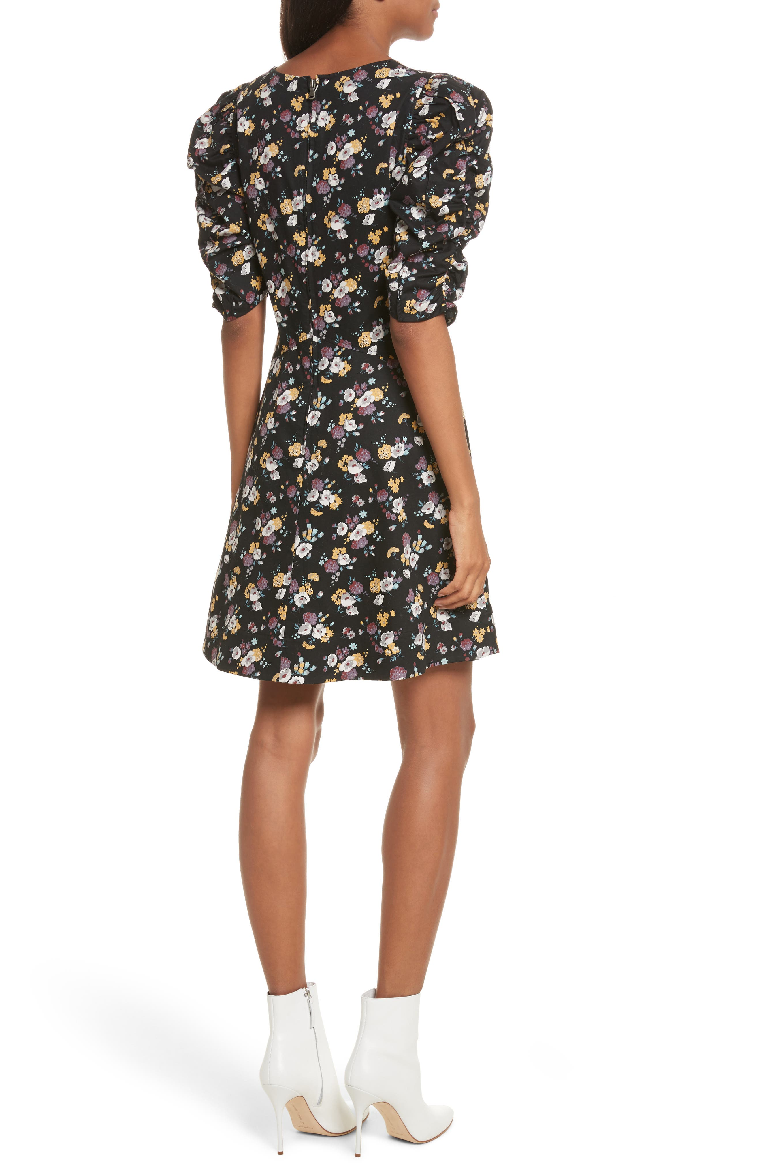 Winter Posey Fit & Flare Dress,                             Alternate thumbnail 2, color,                             Black Combo