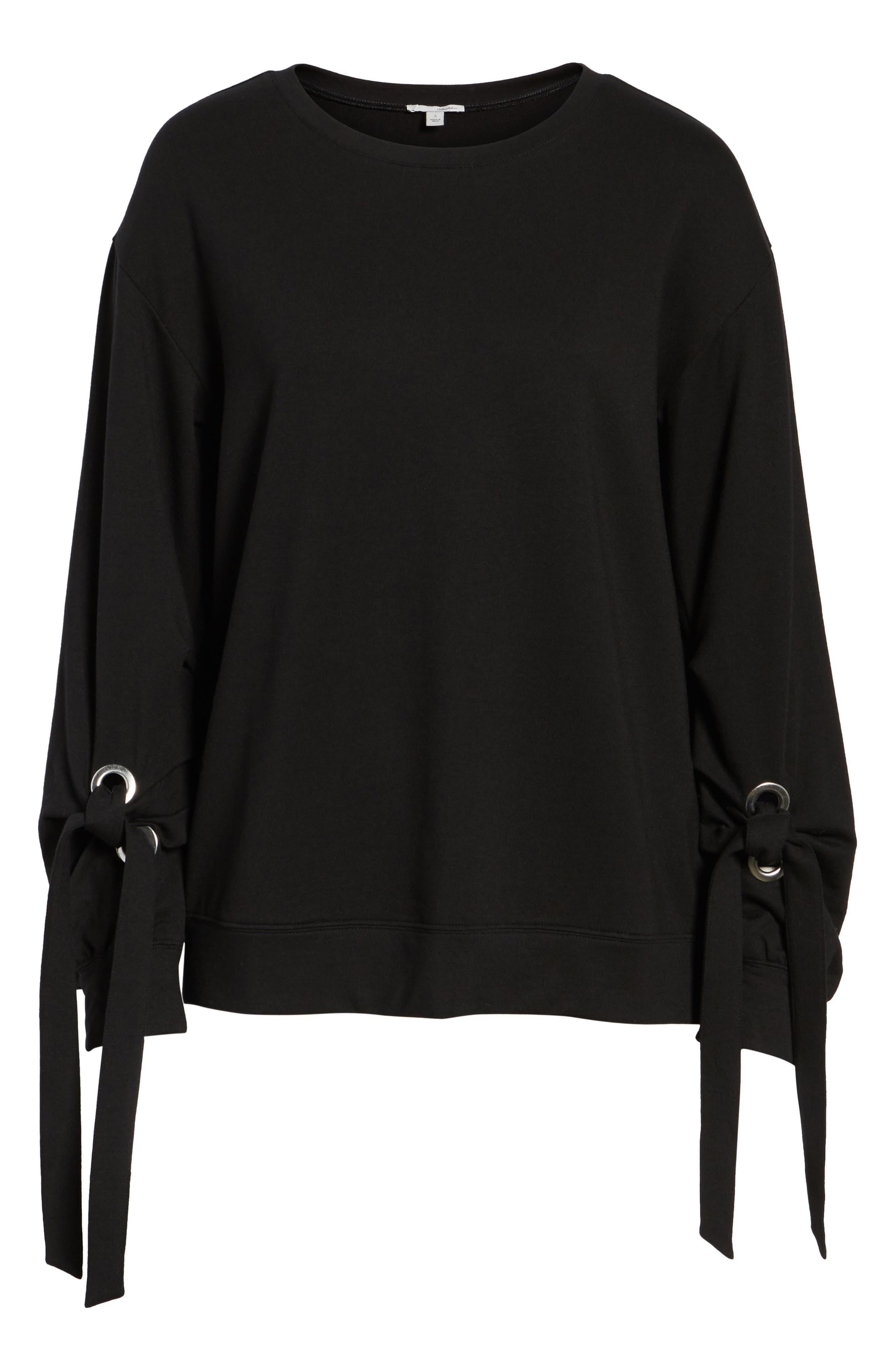 Grommet Tie Sleeve Sweatshirt,                             Alternate thumbnail 6, color,                             Black