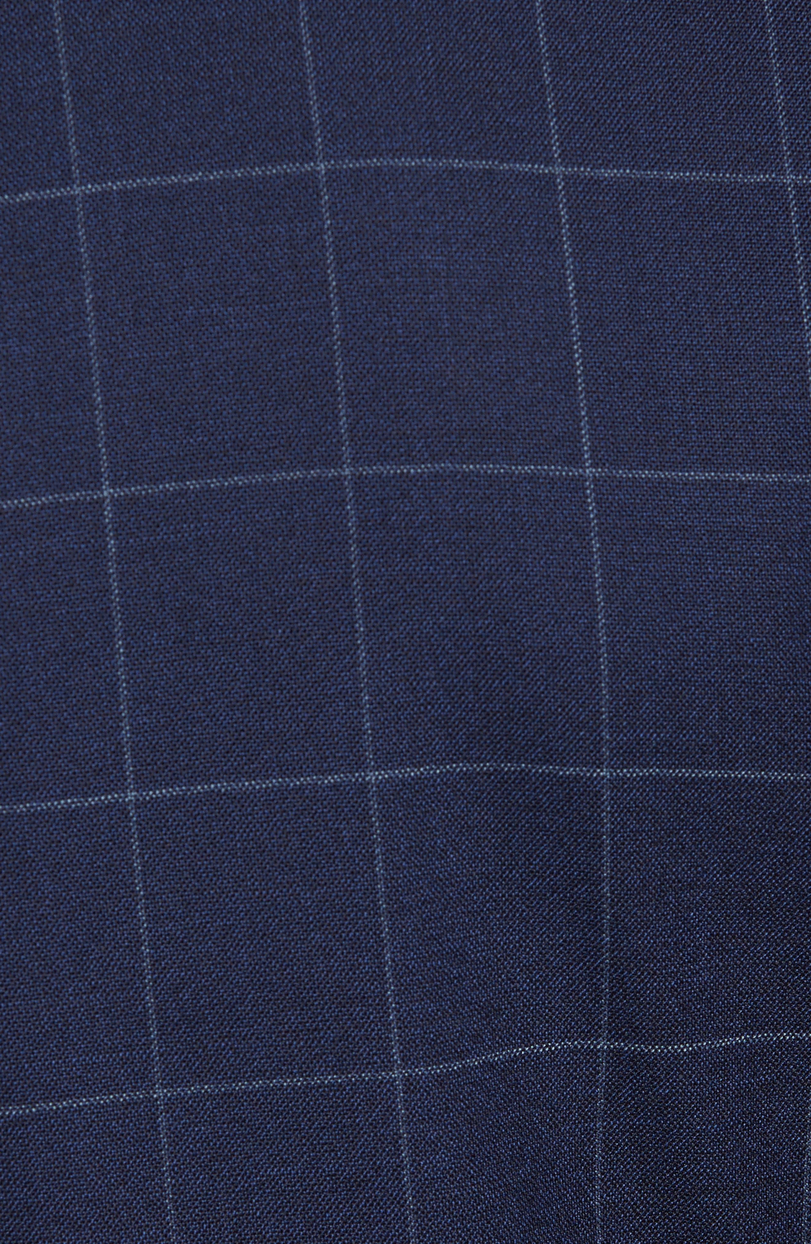 Huge/Genius Trim Fit Three Piece Windowpane Wool Suit,                             Alternate thumbnail 8, color,                             Navy