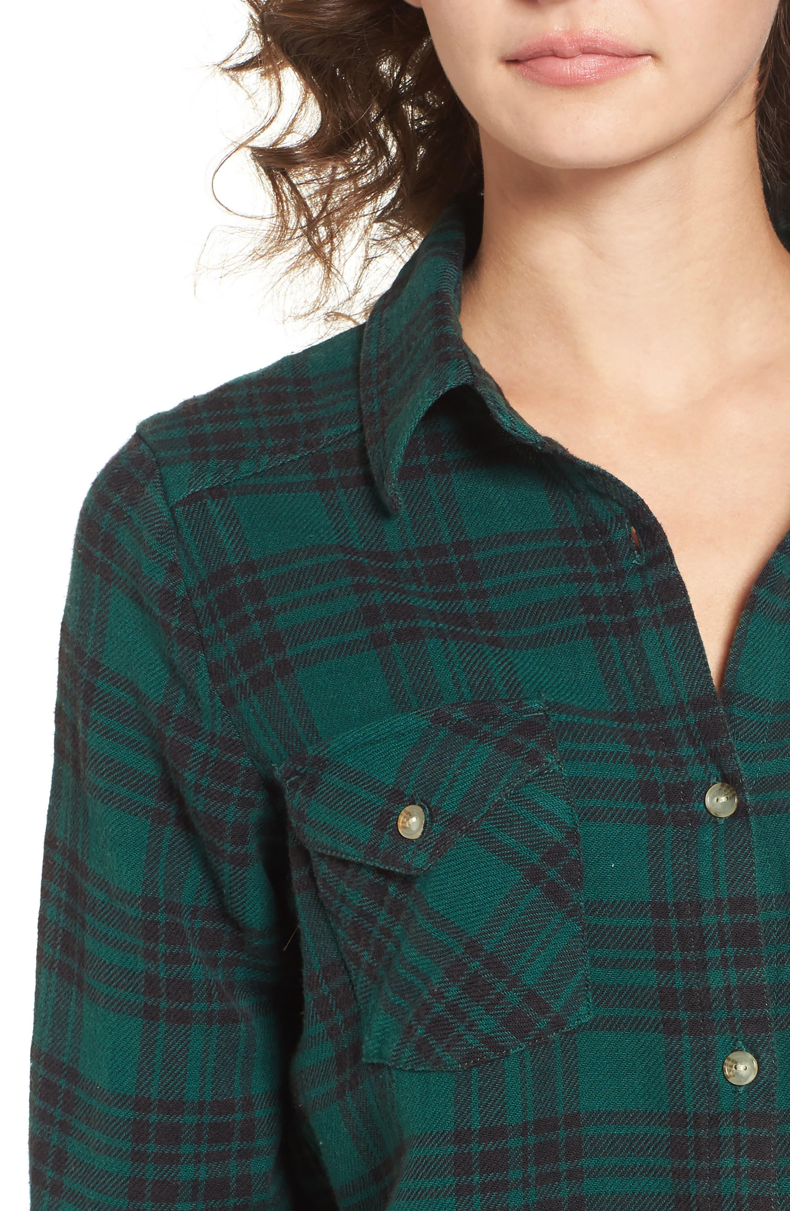 In a Haze Plaid Cotton Shirt,                             Alternate thumbnail 4, color,                             Garden Green