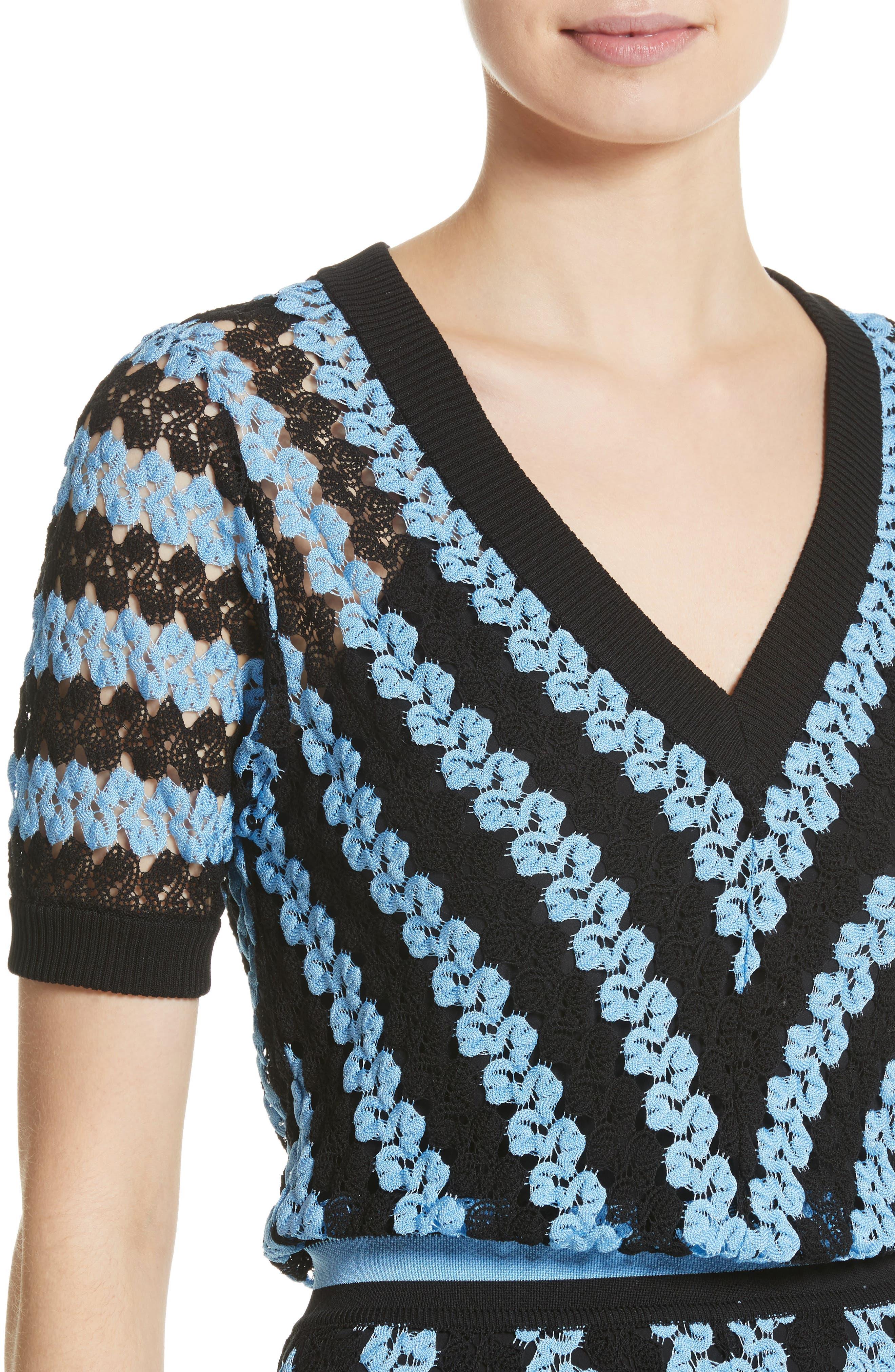 Chevron Knit Midi Dress,                             Alternate thumbnail 4, color,                             Blue