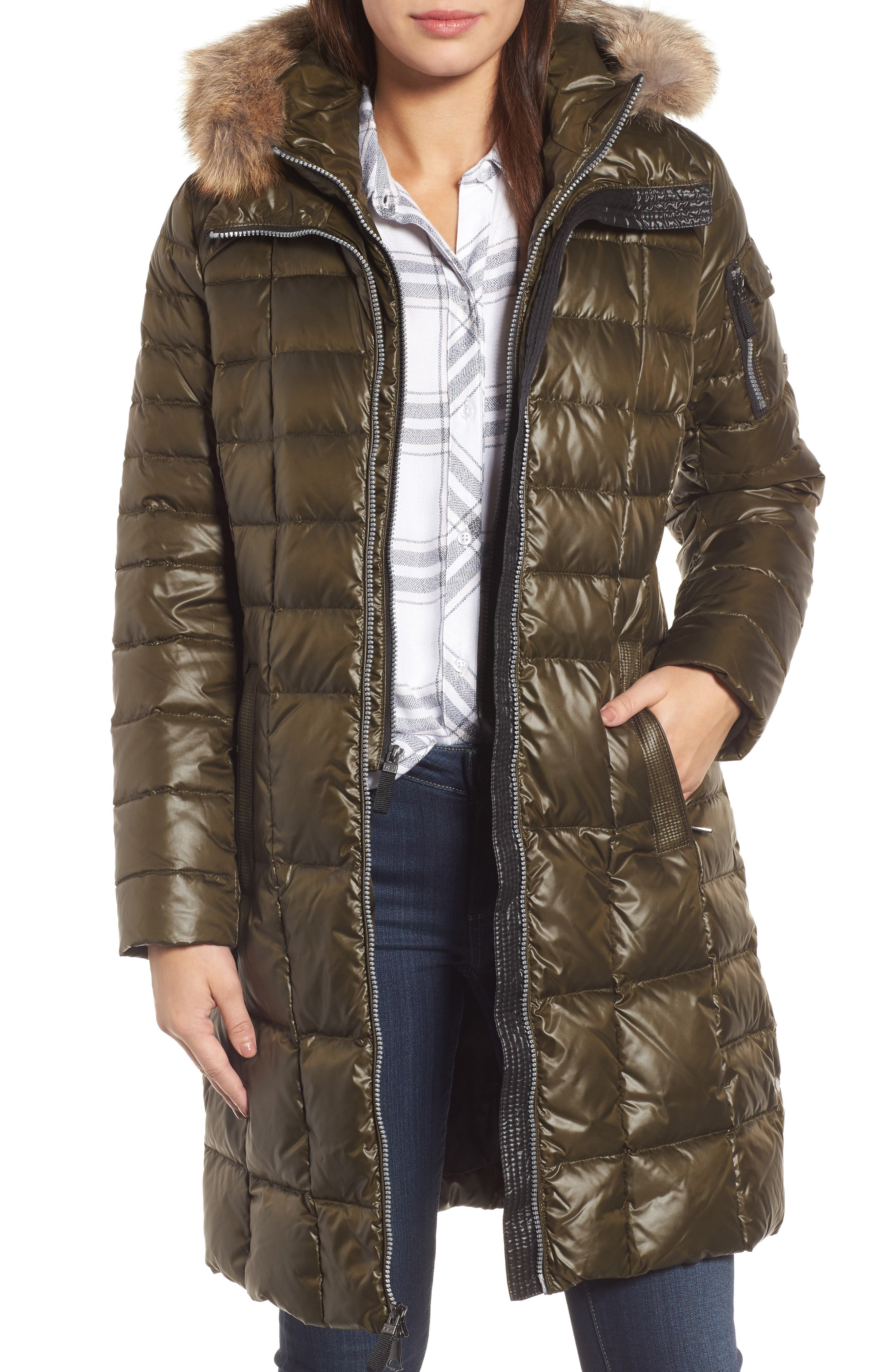 Andrew Marc Quilted Coat with Genuine Coyote Fur