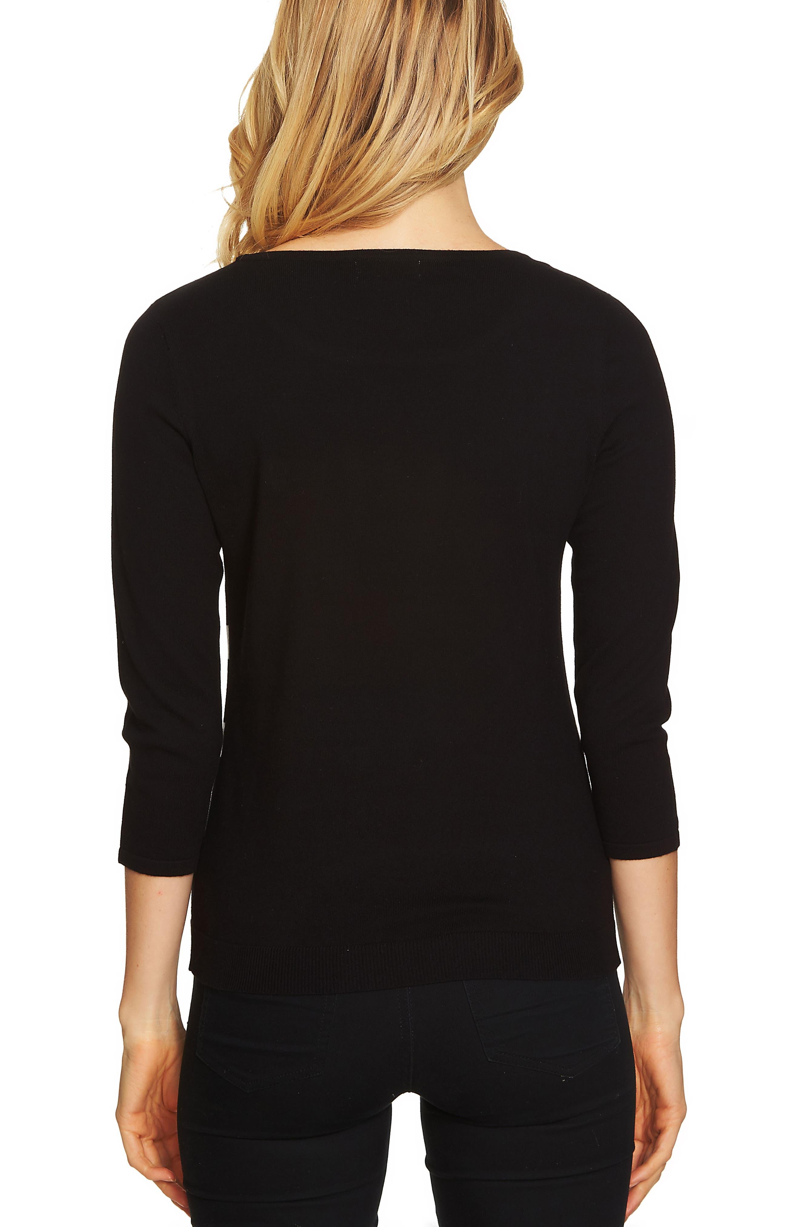 Alternate Image 2  - CeCe Bow Stripe Sweater